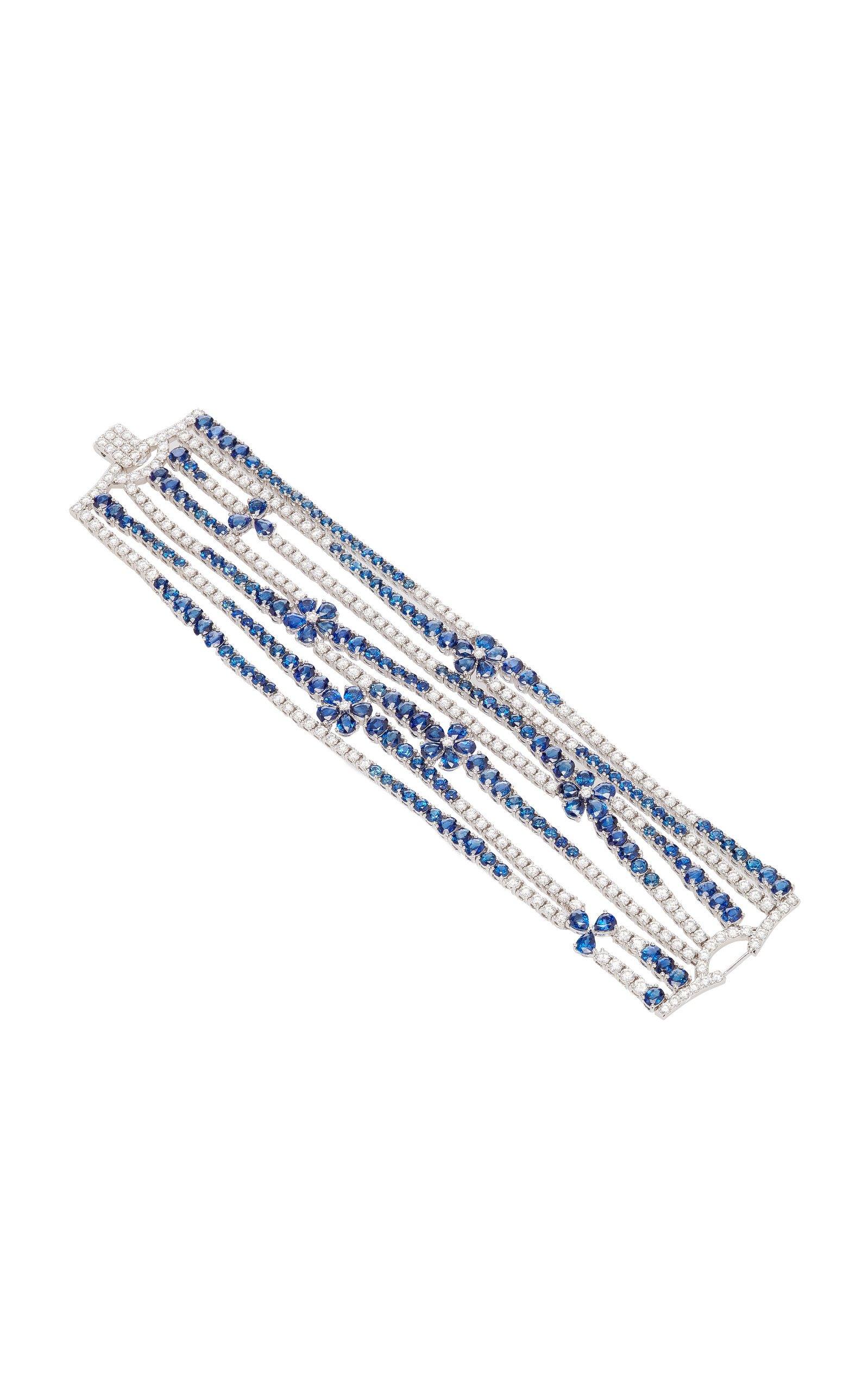 SABBADINI White Gold Diamond And Sapphire Bracelet in Blue