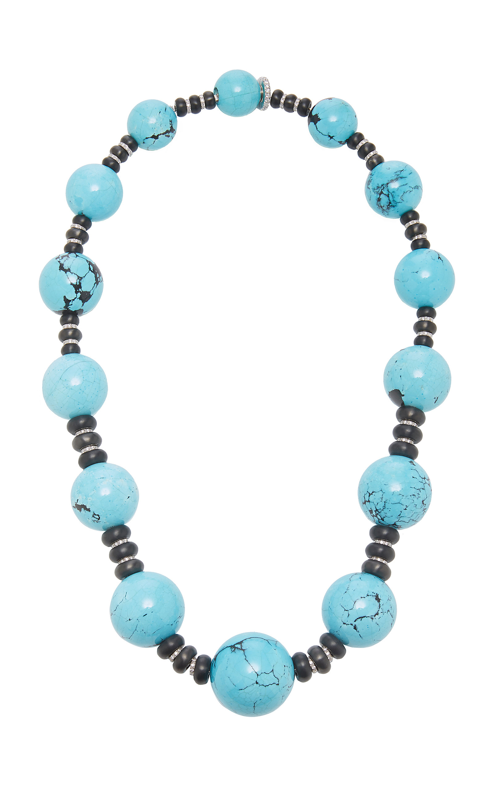 SABBADINI White Gold Turquoise And Diamond Necklace in Blue