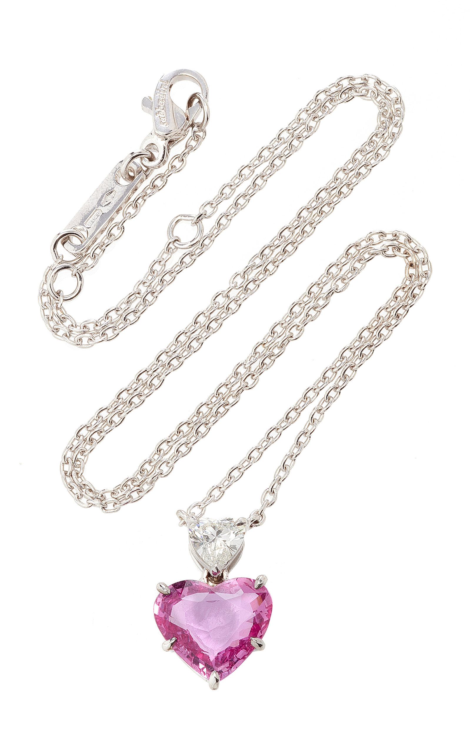 SABBADINI White Gold Diamond And Sapphire Necklace in Pink