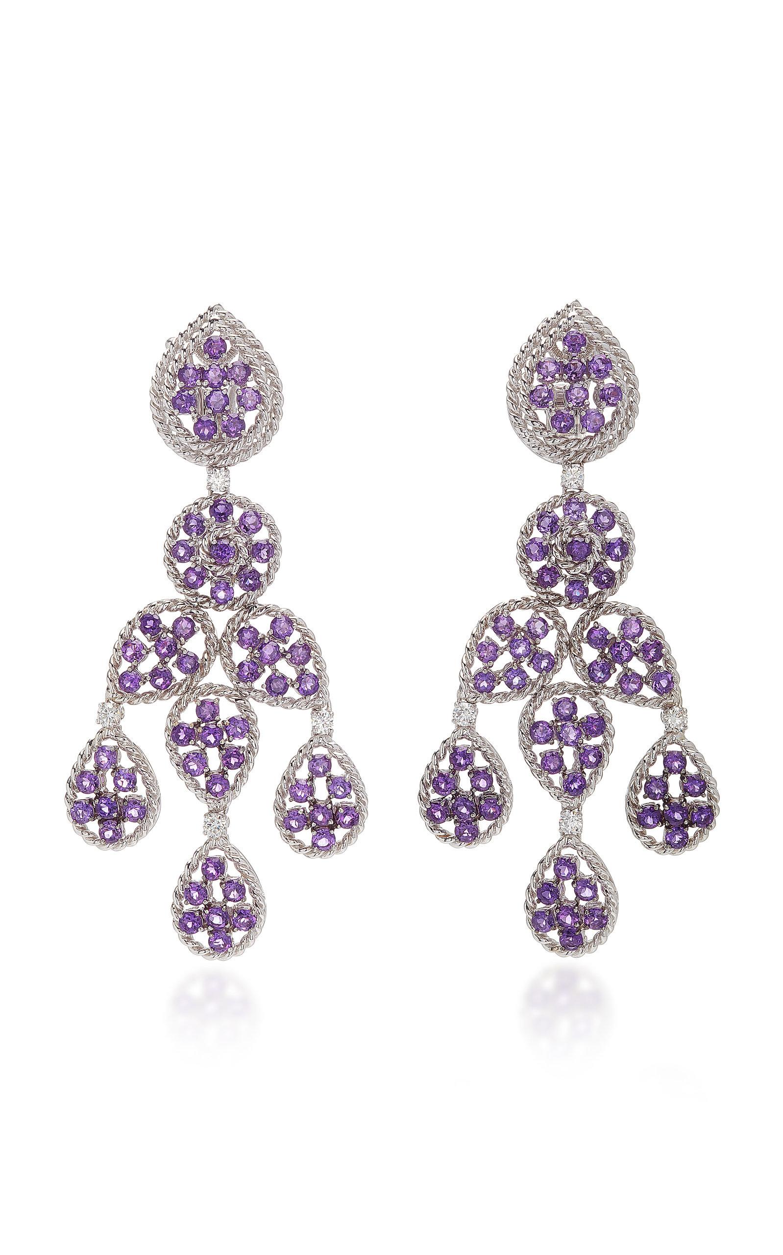 SABBADINI White Gold Amethyst And Diamond Earrings in Purple