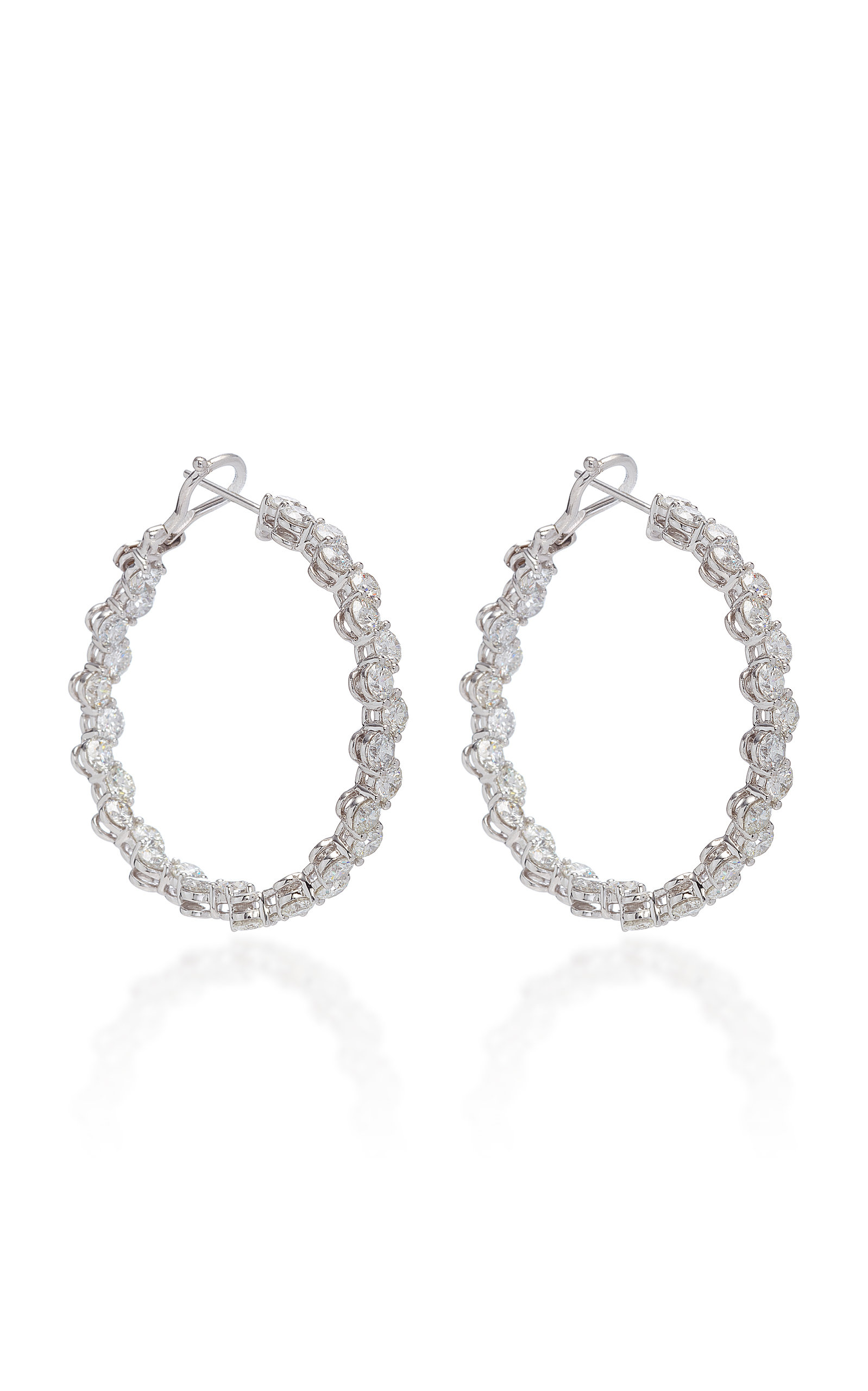 SABBADINI White Gold Diamond Hoop Earrings