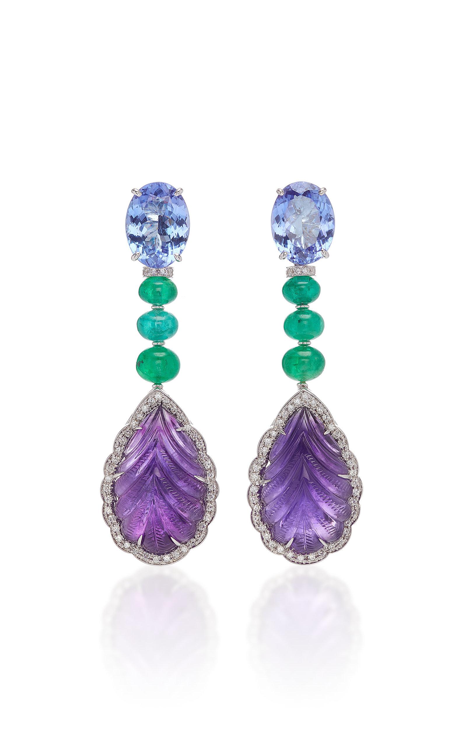 SABBADINI White Gold Diamond Emerald Tanzanite And Amethyst Earrings in Multi