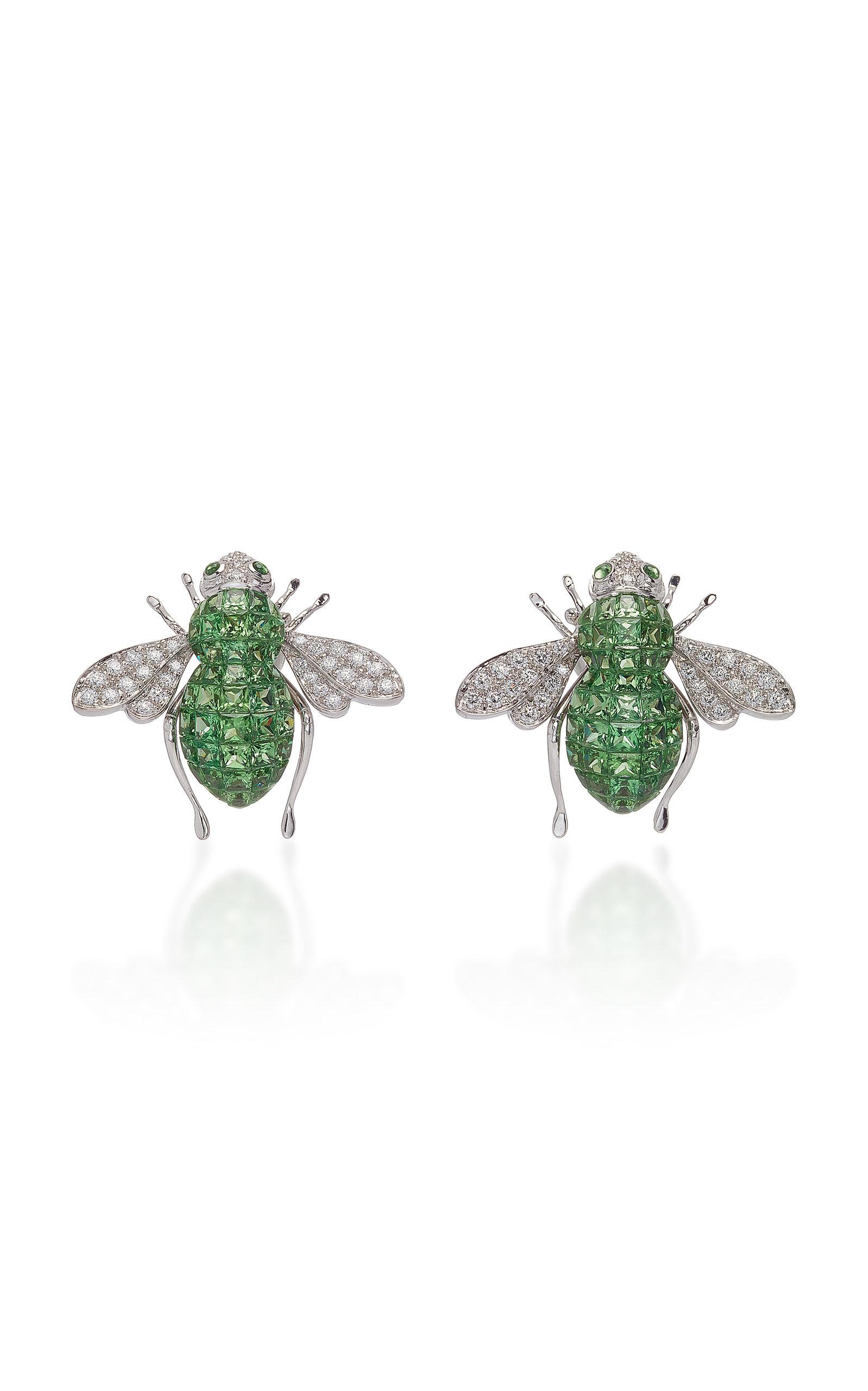 SABBADINI White Gold Diamond And Green Garnet Bee Earrings