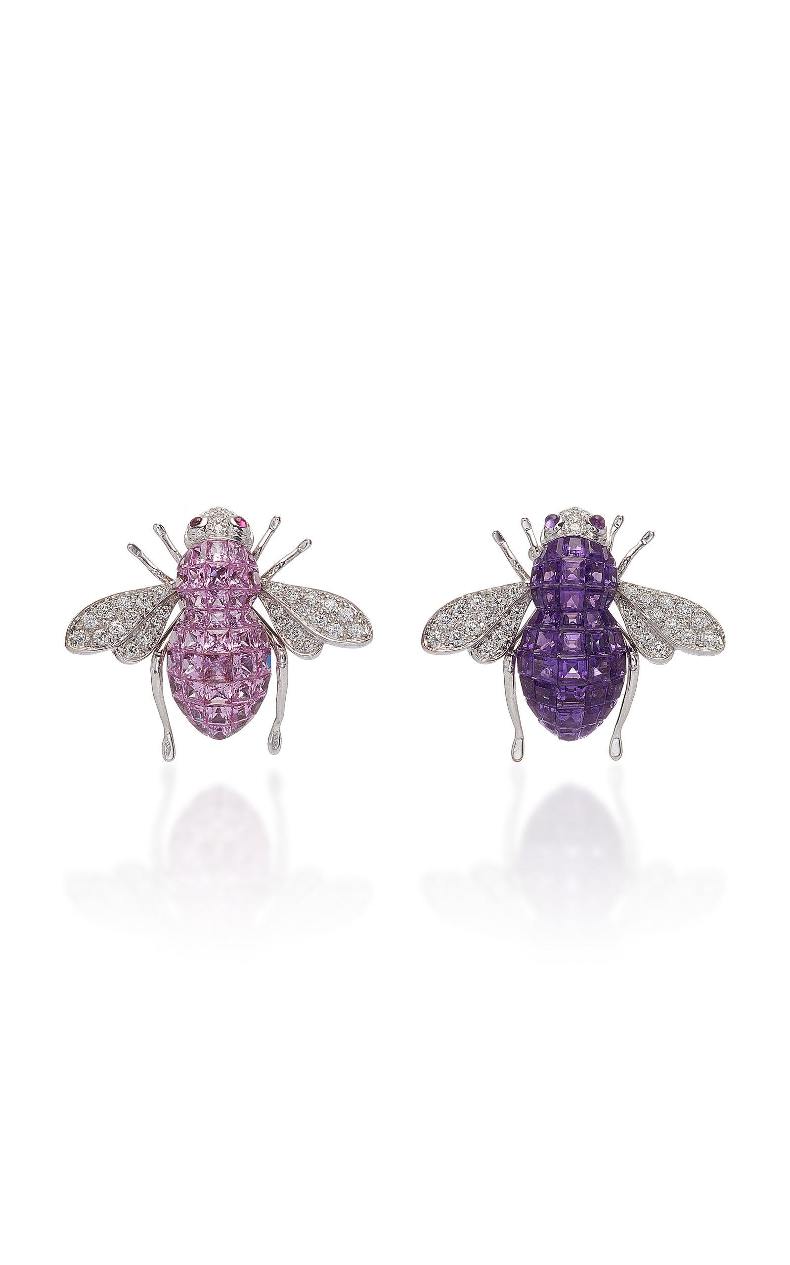 SABBADINI White Gold Diamond Amethyst And Sapphire Bee Earrings in Purple