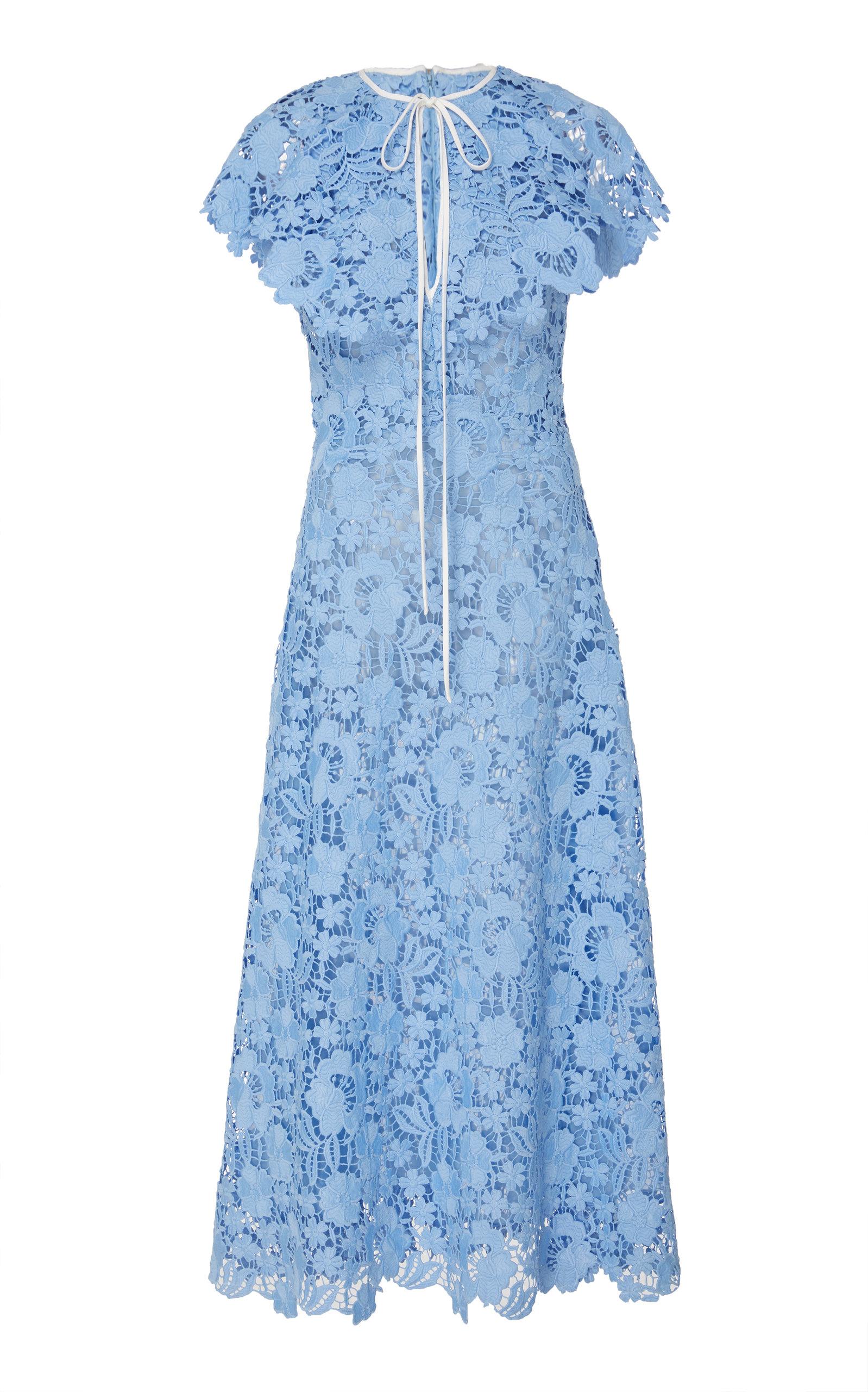 e0b49d66ccd7 Lela Rose Cap-Sleeve Guipure Lace Dress In Blue