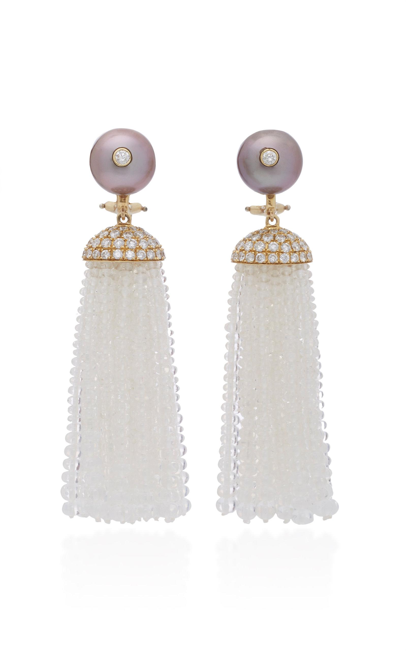GOSHWARA 18K Gold Pearl Moon Quartz And Diamond Tassel Earrings in White
