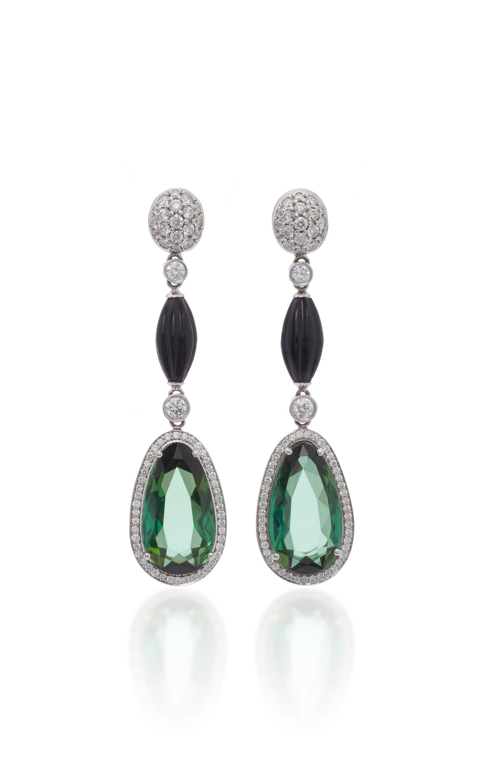 GOSHWARA 18K White Gold Tourmaline And Diamond Earrings in Green