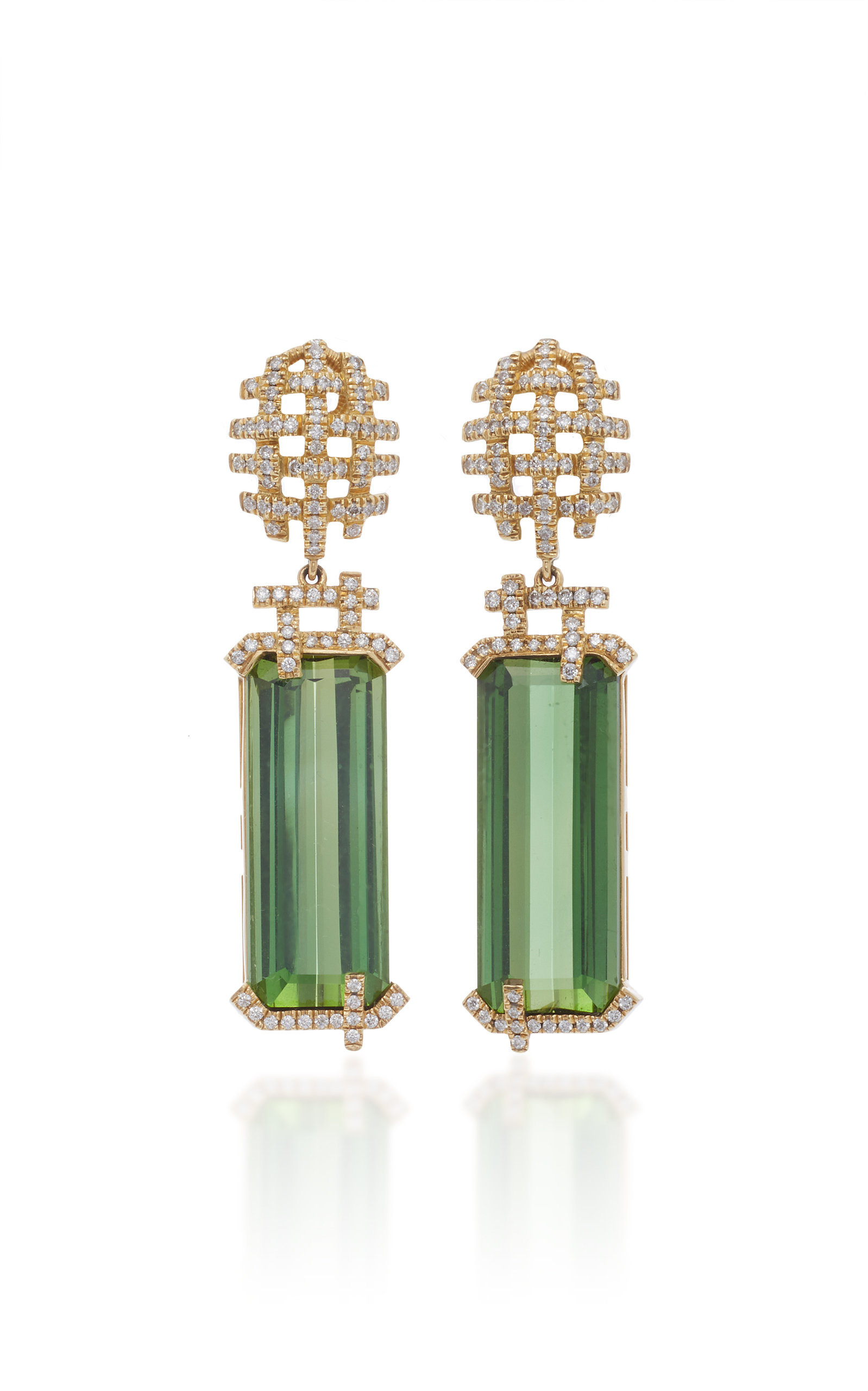 GOSHWARA 18K Gold Touramline And Diamond Earrings in Green
