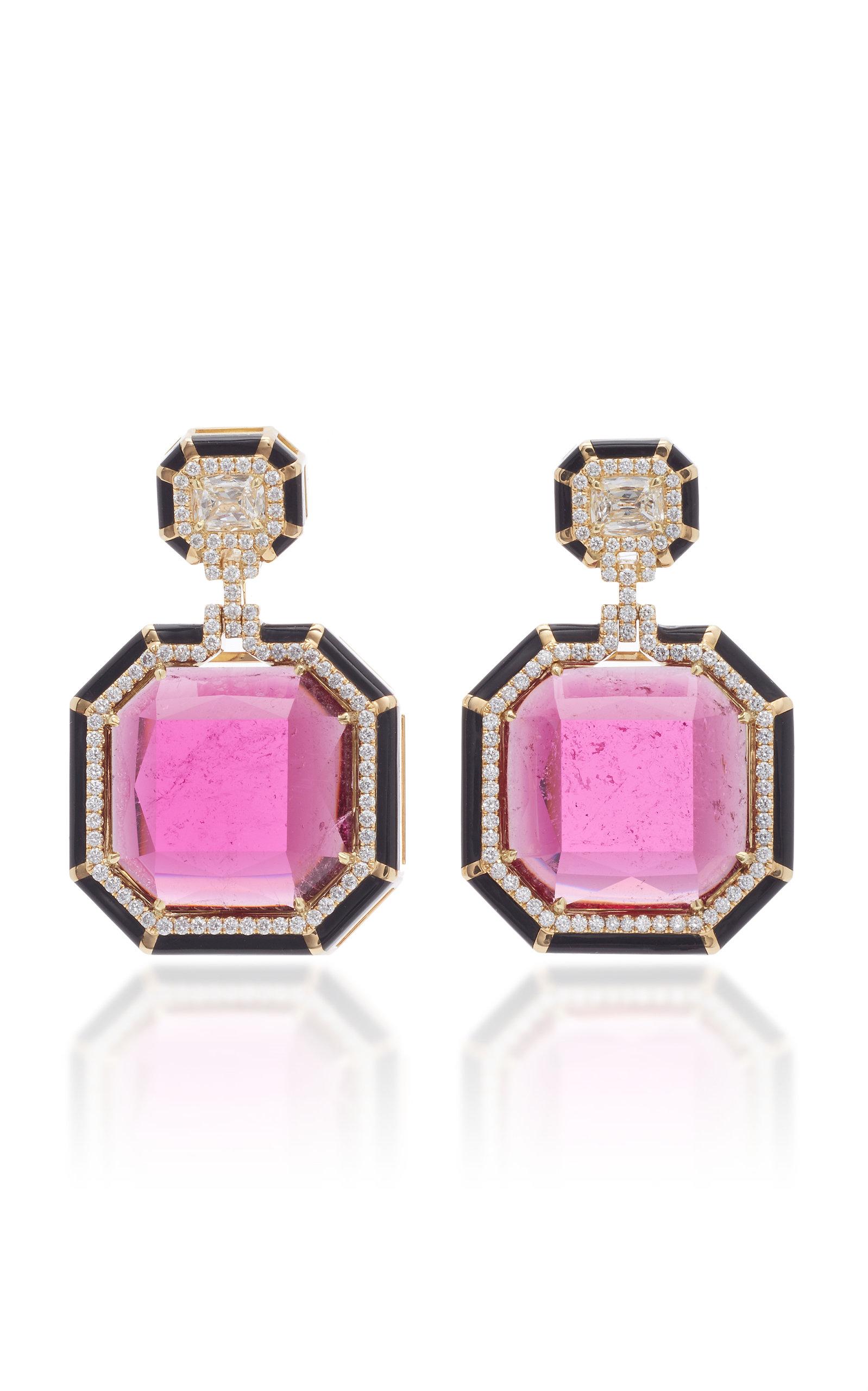 GOSHWARA 18K Gold Rubellite And Diamond Earrings in Pink