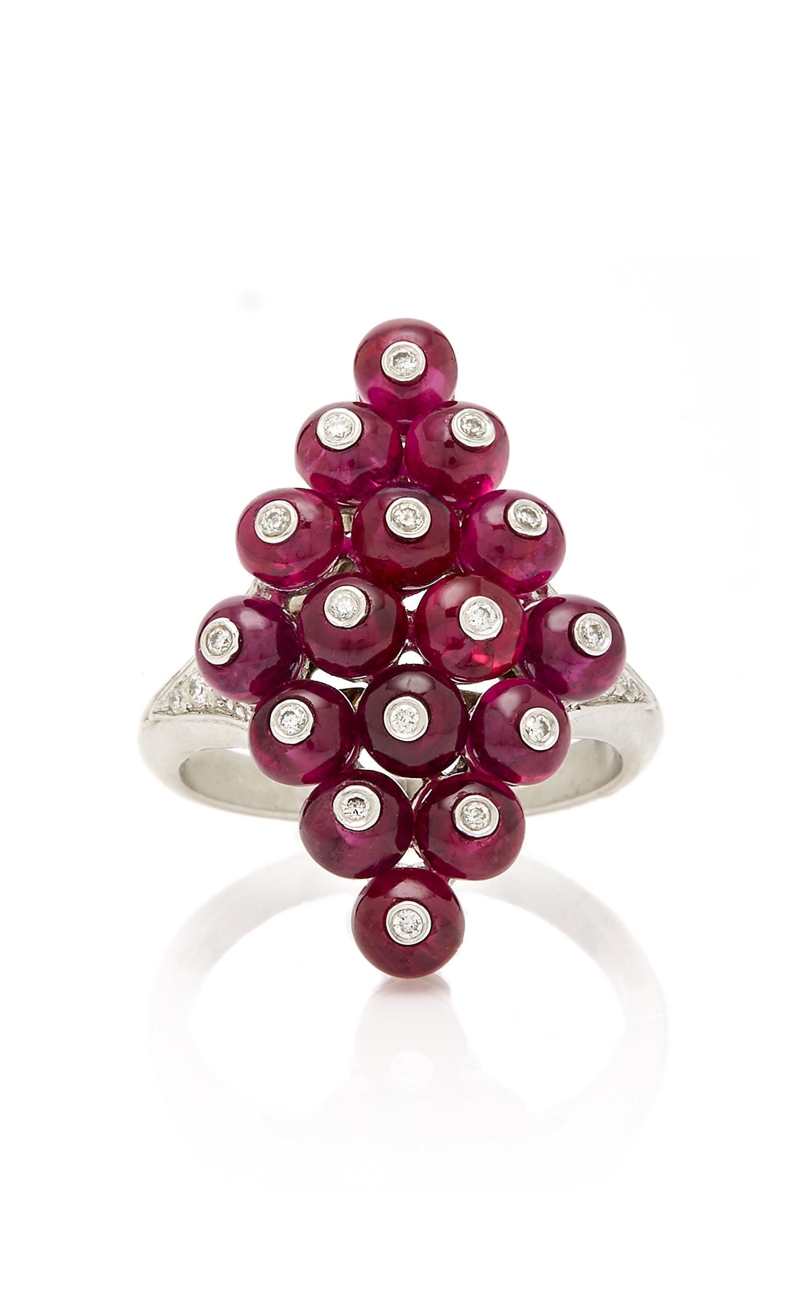 GOSHWARA Platinum Ruby And Diamond Ring in Red