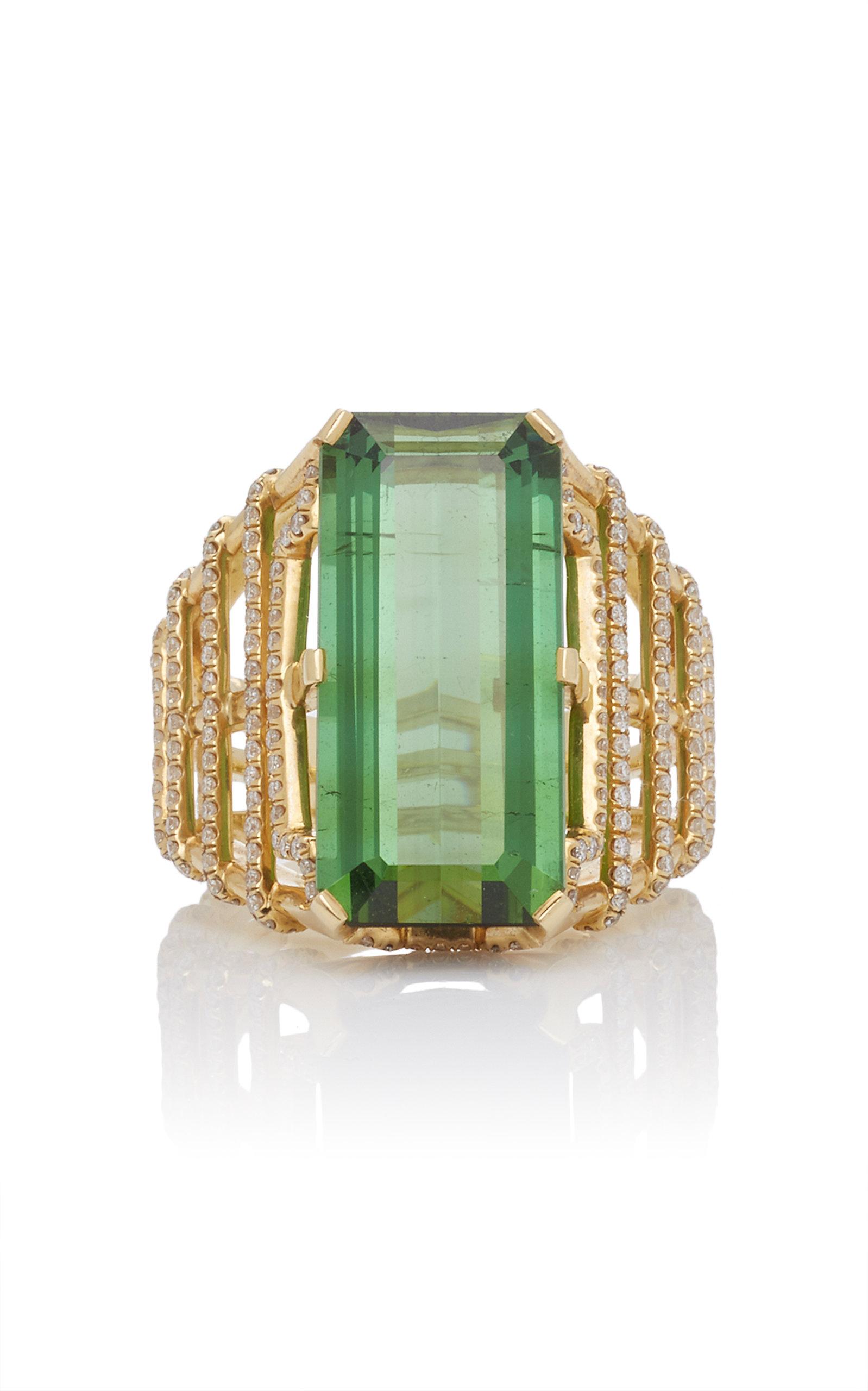 GOSHWARA 18K Gold Tourmaline And Diamond Ring in Green