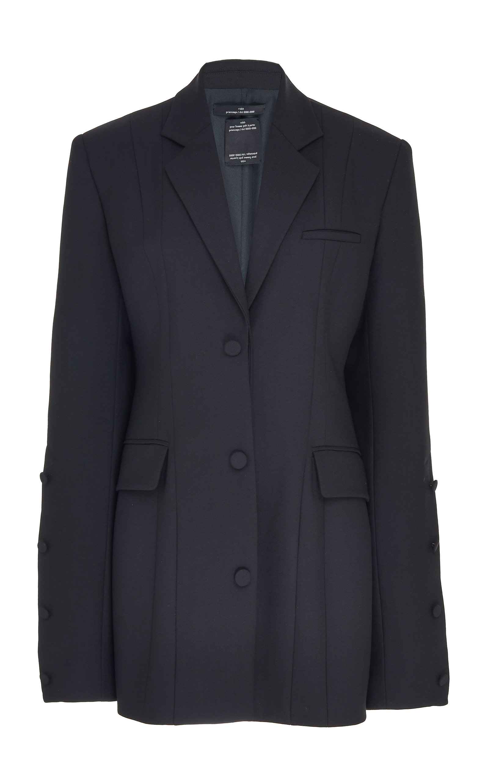 763ae7d9be Buttoned Sleeves Oversized Crepe Blazer