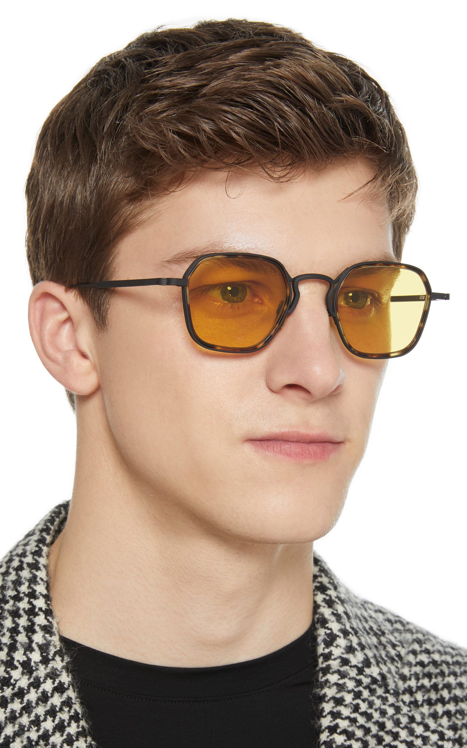 252a63f403e Wyatt Hexagon-Frame Tortoiseshell Wire Sunglasses by