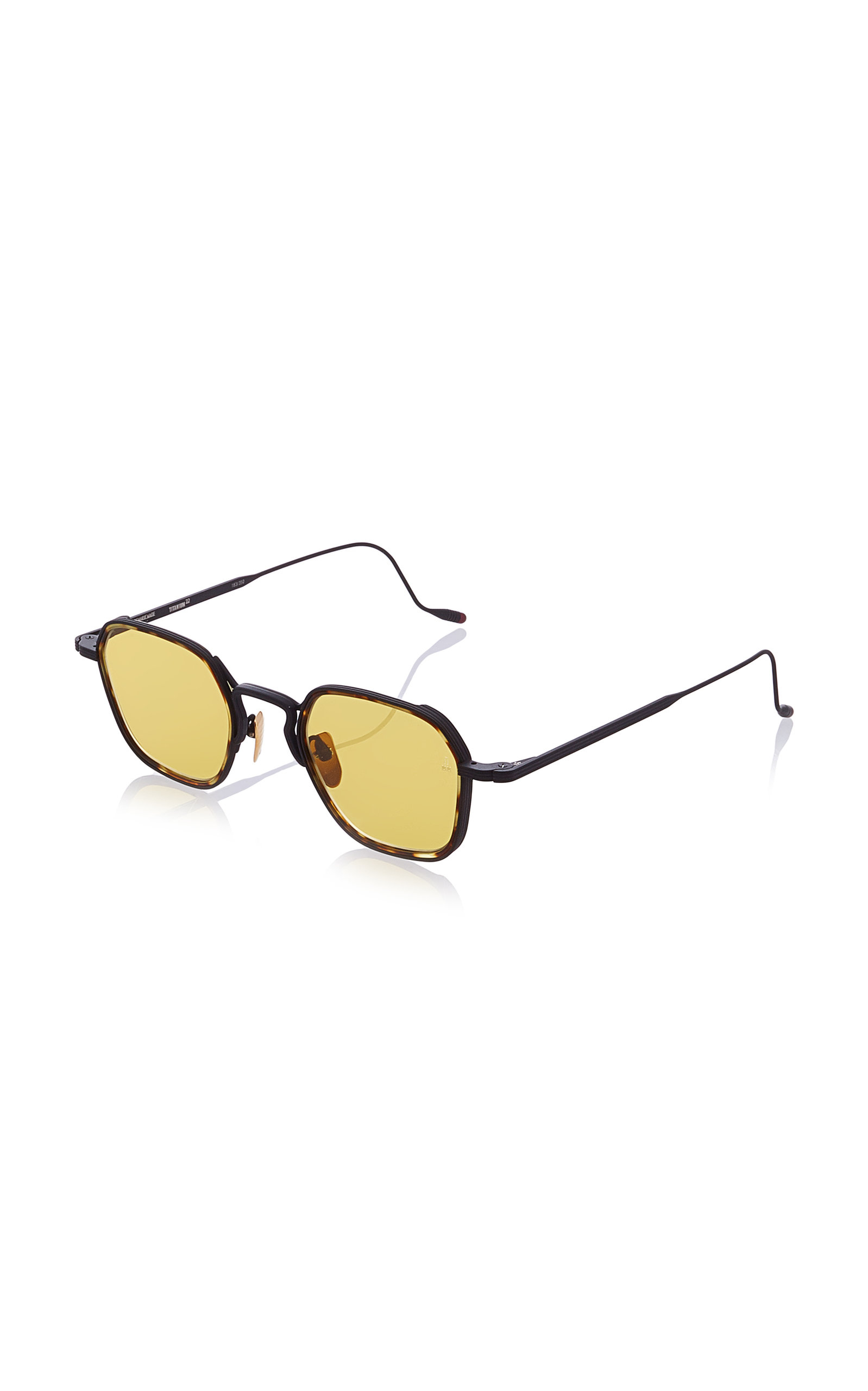 c0670a4e577 Jacques Marie Mage Wyatt Hexagon-Frame Tortoiseshell Wire Sunglasses In  Brown