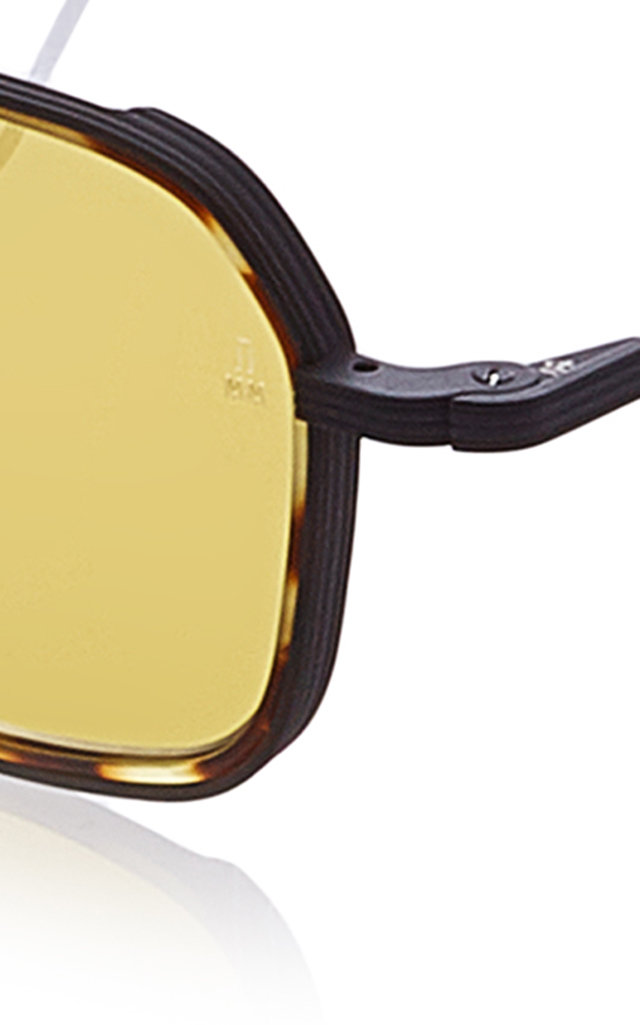 141159be1f Jacques Marie Mage Wyatt Hexagon-Frame Tortoiseshell Wire Sunglasses In  Brown