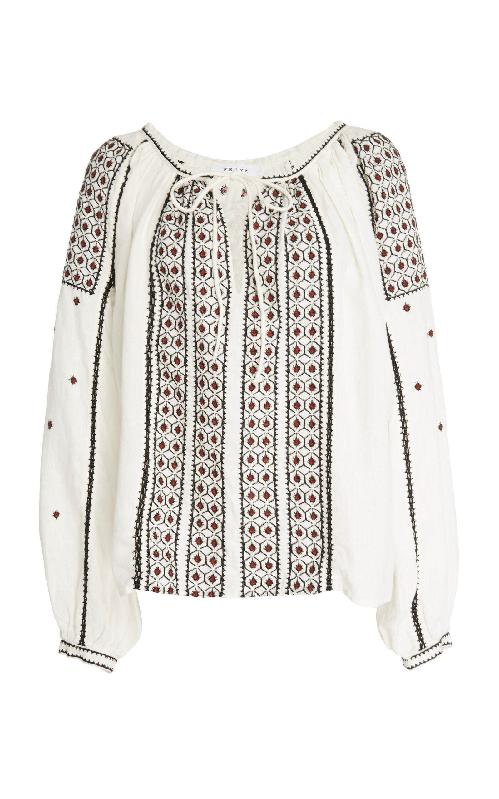Frame Tops ANITA EMBROIDERED LINEN-VOILE TOP