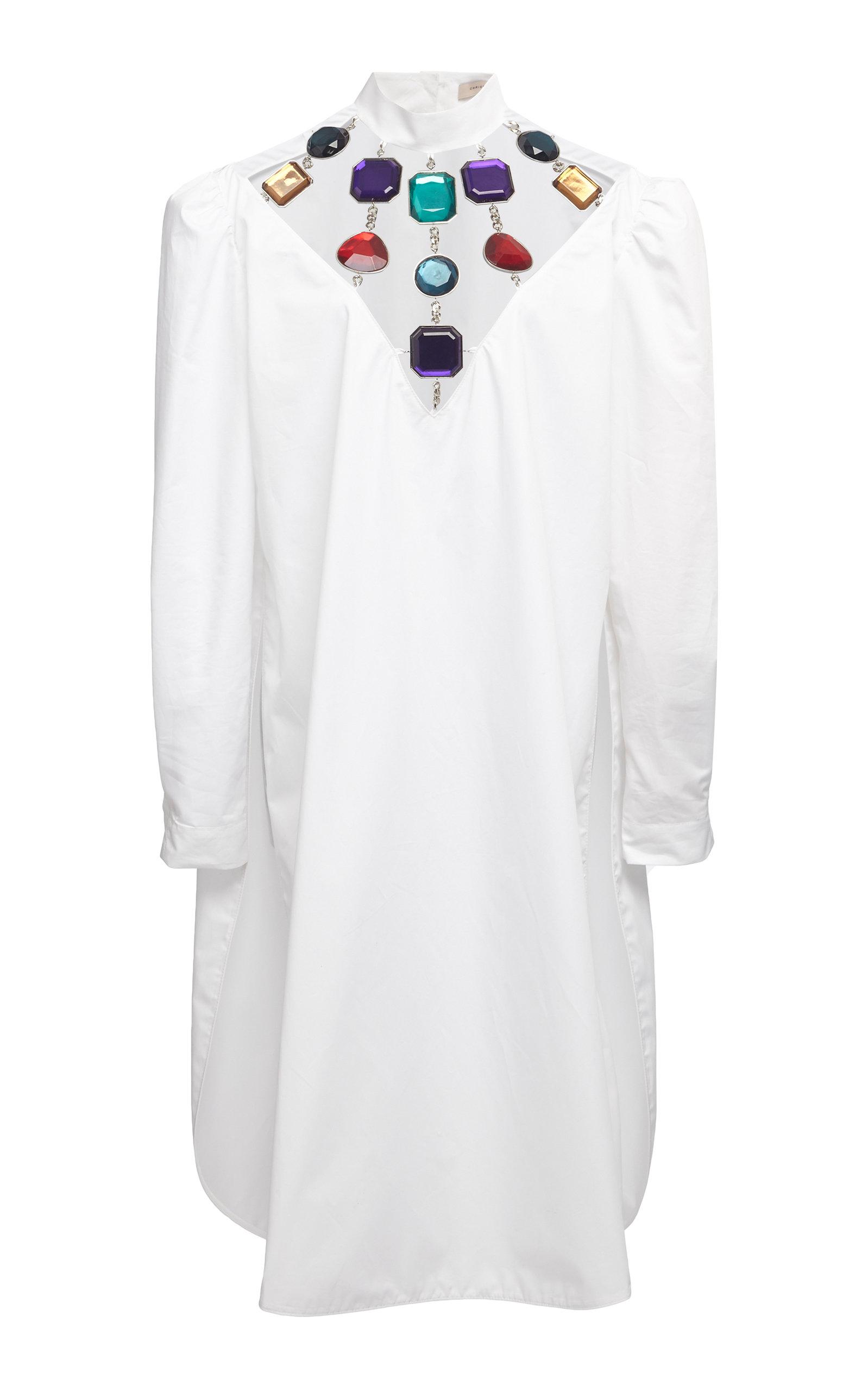 CHRISTOPHER KANE JEWELED NECKLINE COTTON DRESS