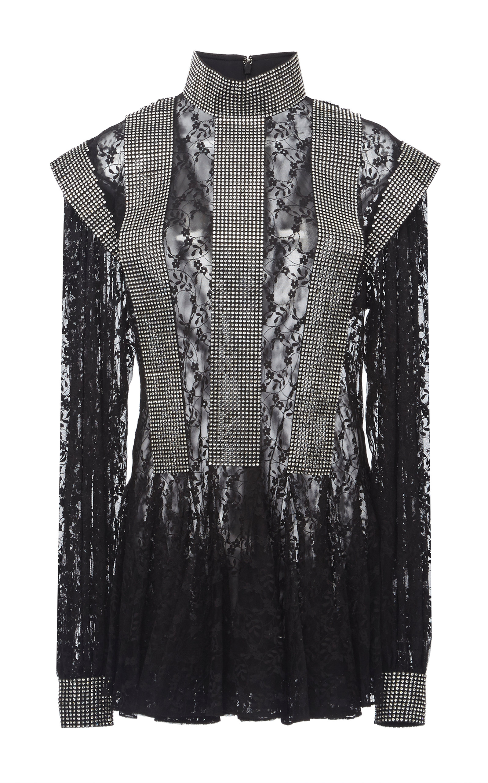 Christopher Kane RUFFLED-HEM LACE-AND-SEQUIN DRESS