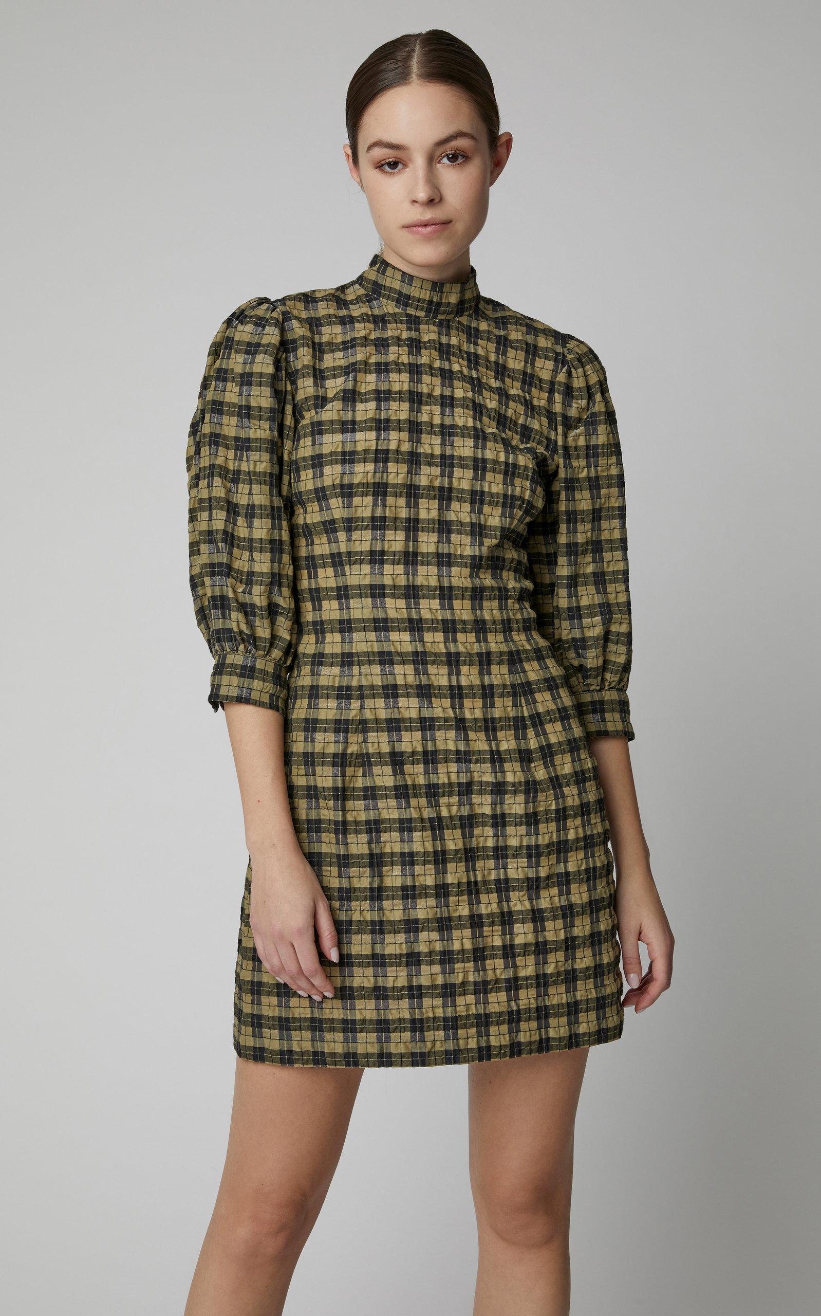 189b46e1 Seersucker Checked Cotton-Blend Mini Dress by Ganni | Moda Operandi