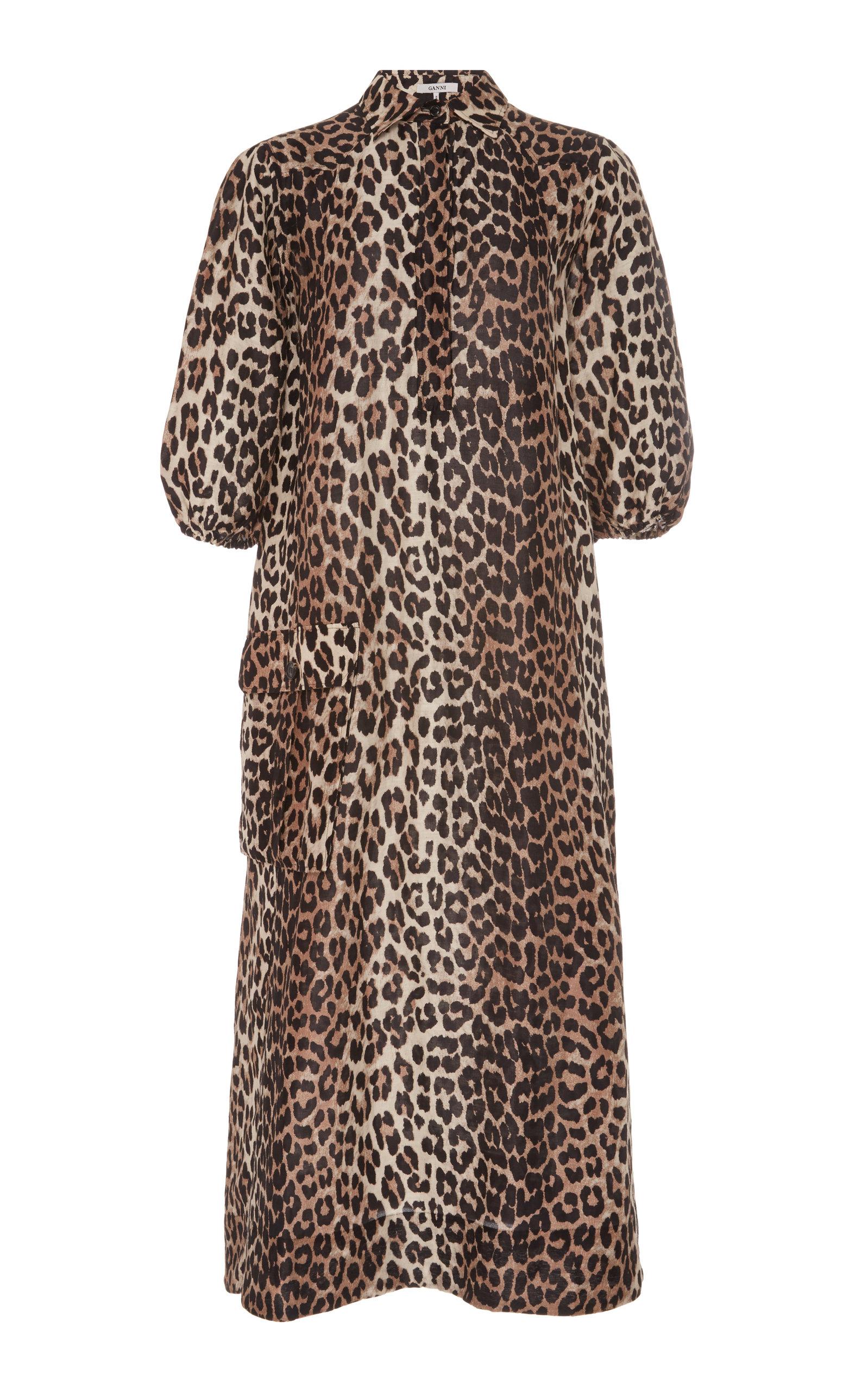 Ganni Dresses LEOPARD-PRINT LINEN AND SILK-BLEND MIDI DRESS