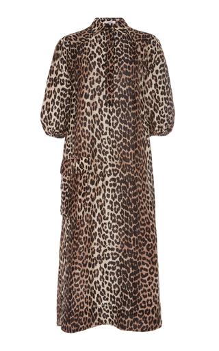 4343de4060 GanniLeopard-Print Linen And Silk-Blend Midi Dress