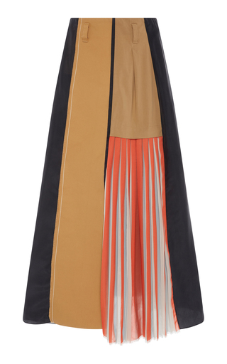 DOROTHEE SCHUMACHER | Dorothee Schumacher Wild Patches Pleated Wool-Twill Midi Skirt | Goxip