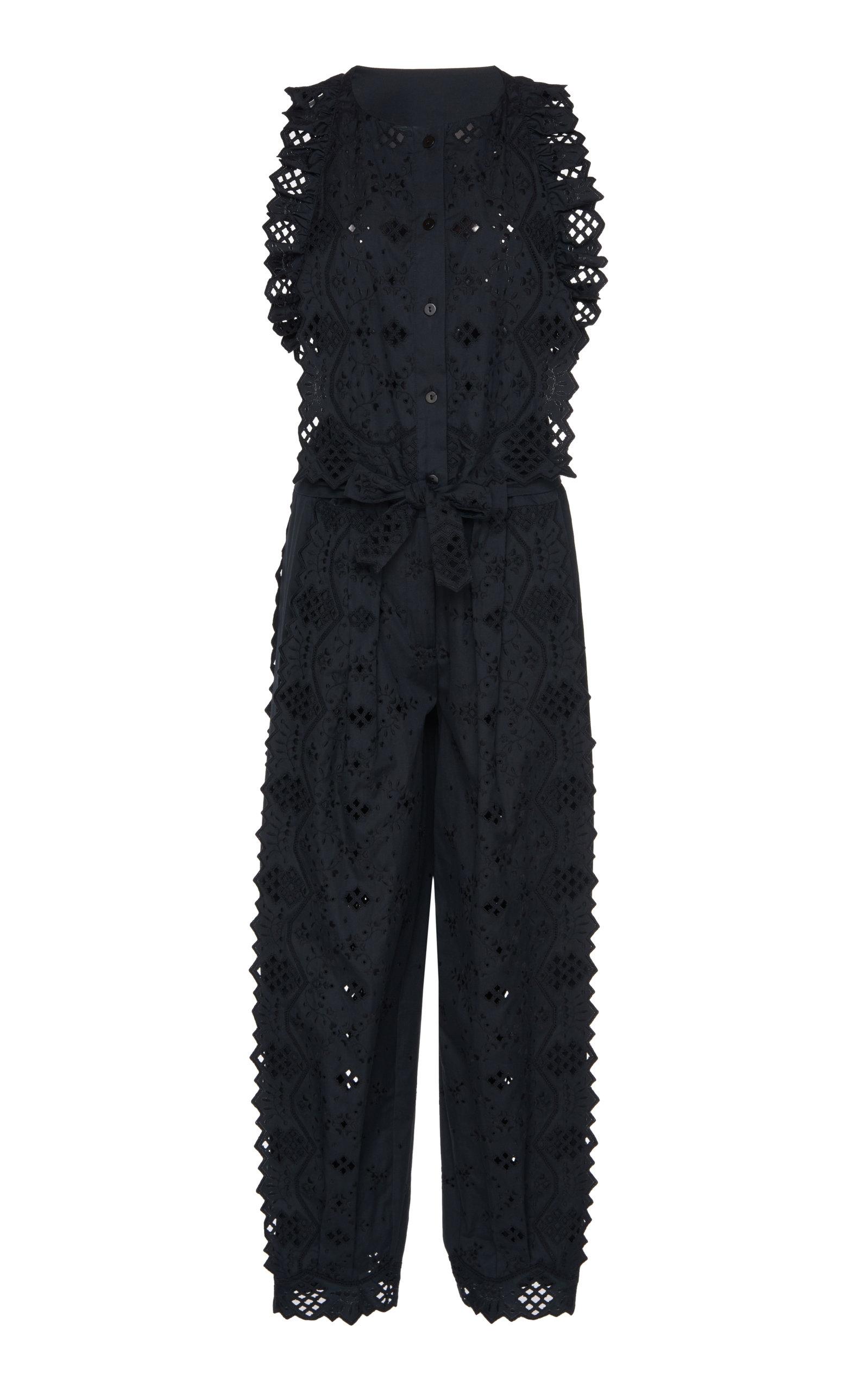 ALBERTA FERRETTI | Alberta Ferretti Eyelet Cotton Blend Jumpsuit | Goxip