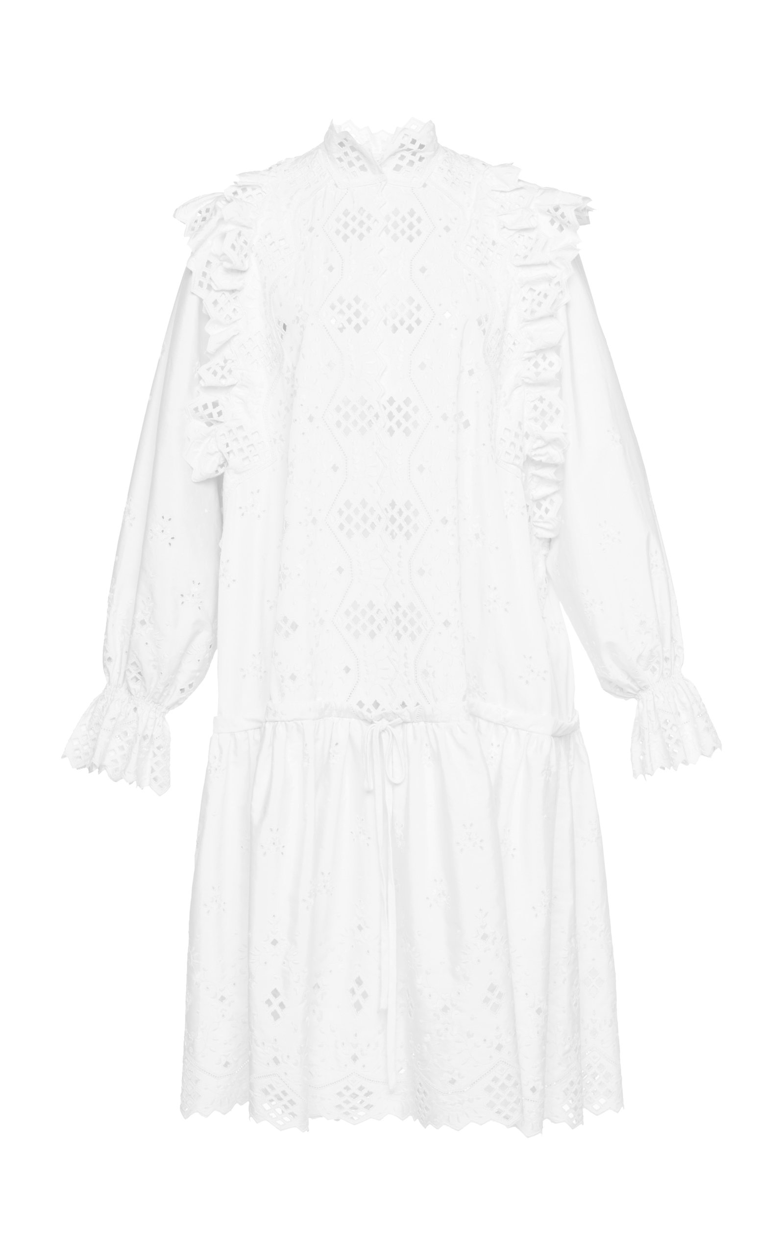 ALBERTA FERRETTI LONG SLEEVE EYELET COTTON BLEND MINI DRESS