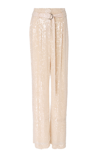 SALLY LAPOINTE | Sally LaPointe M'O Exclusive Belted Sequined Wide-Leg Pants | Goxip