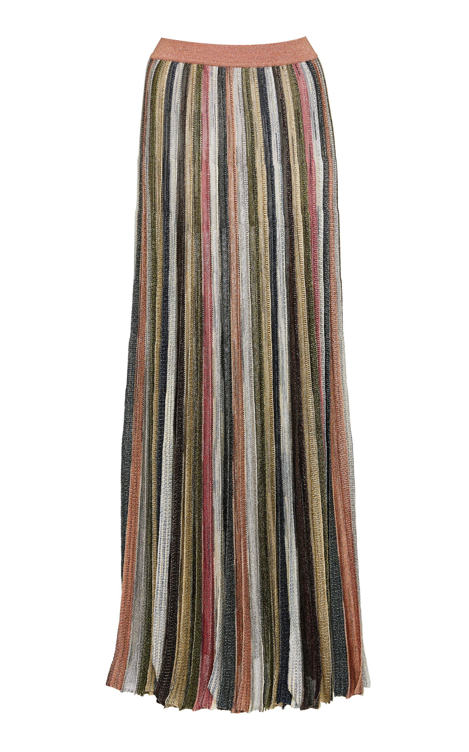 Missoni STRIPED PLEATED LUREX MAXI SKIRT