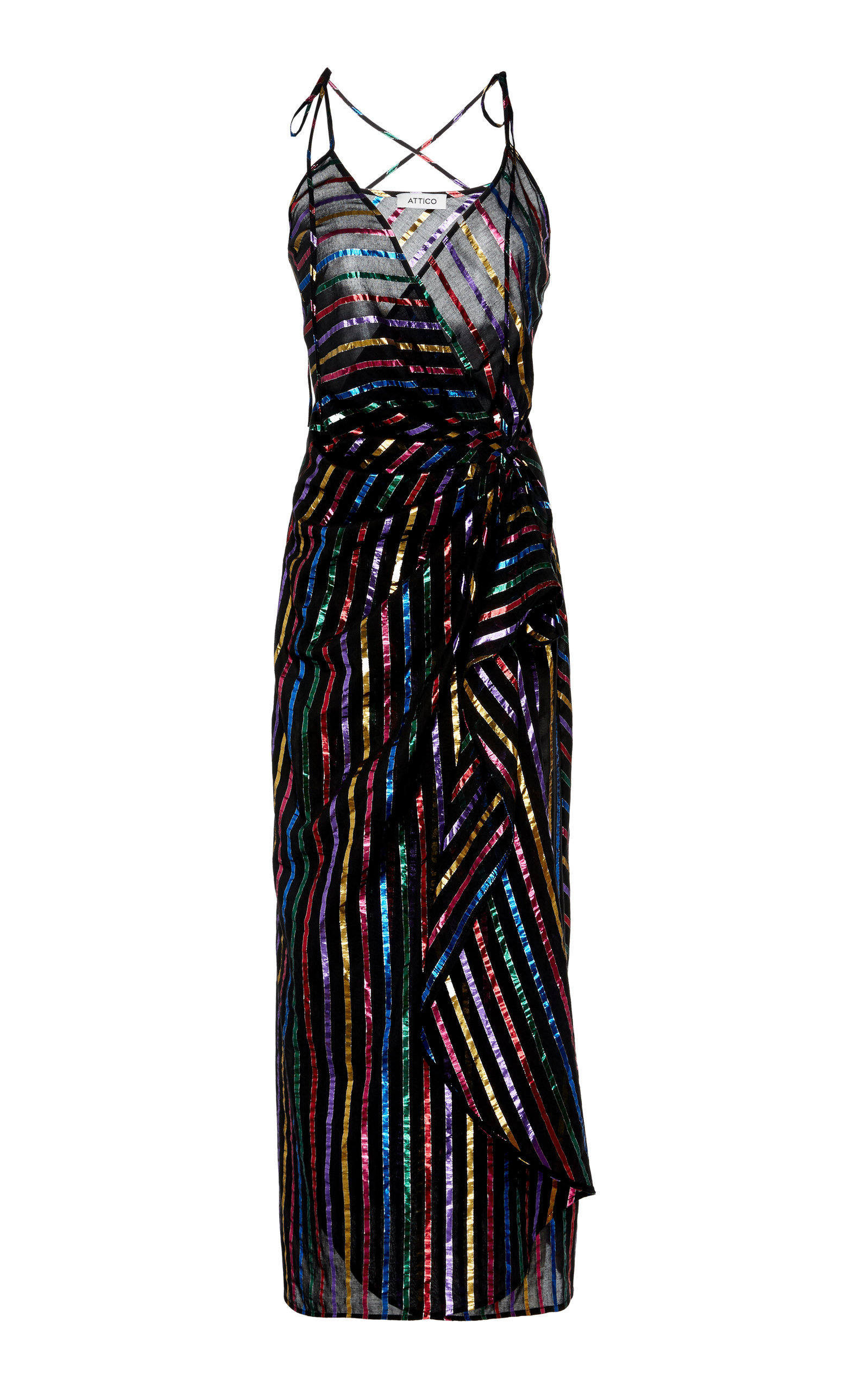 ATTICO METALLIC STRIPED LAMÉ MIDI DRESS