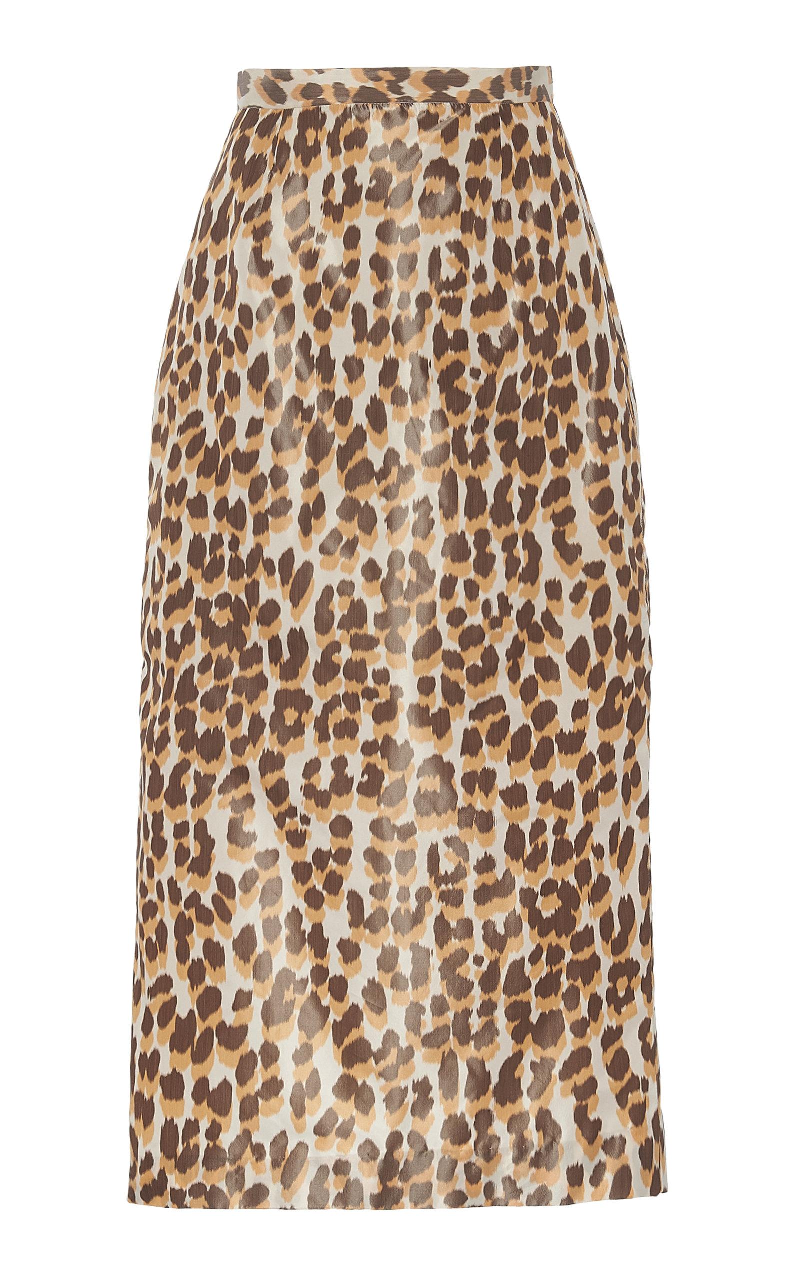 Rochas Oenothera Leopard-Print Silk Satin Midi Skirt