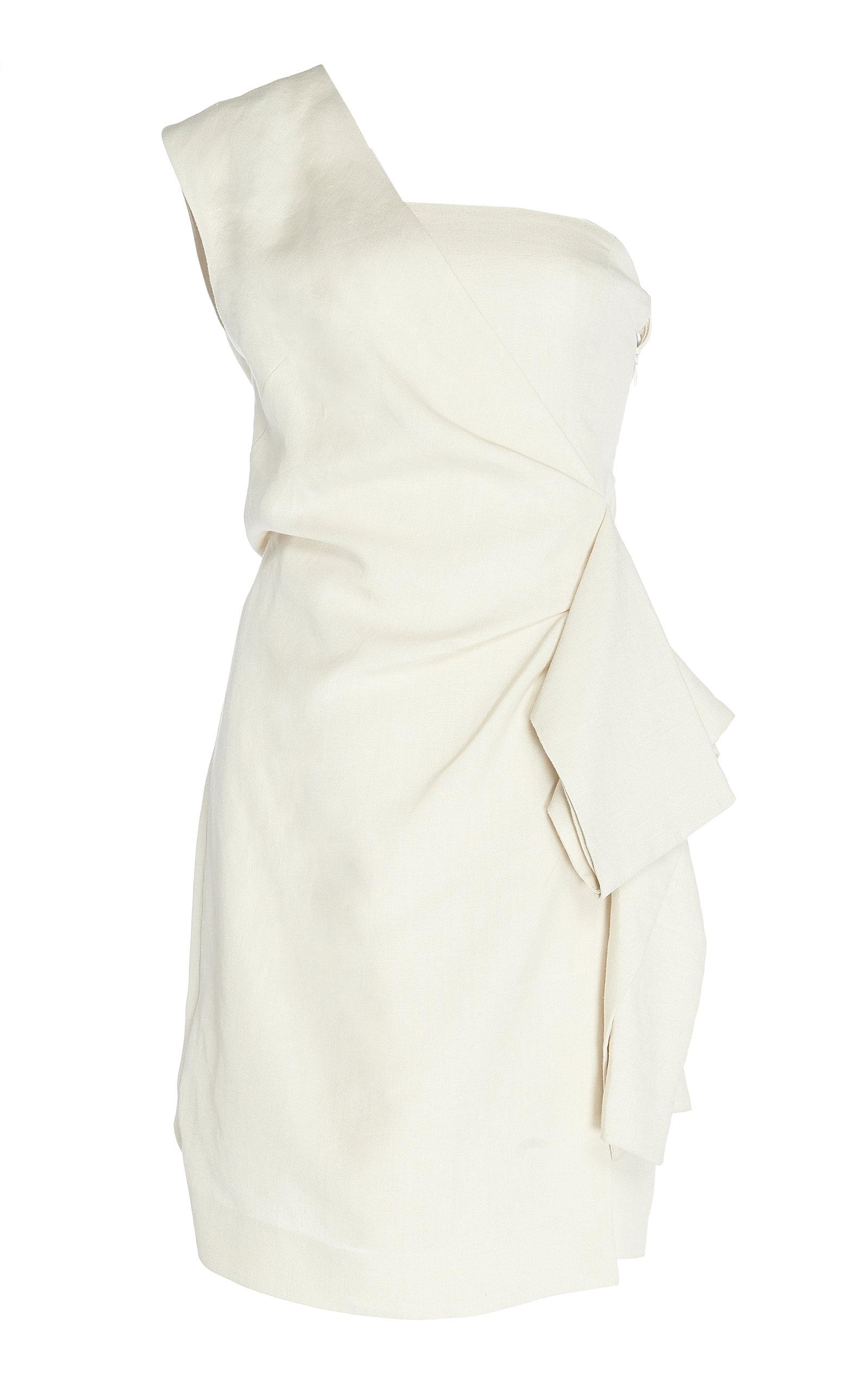 One Shoulder Pleated Crepe Mini Dress