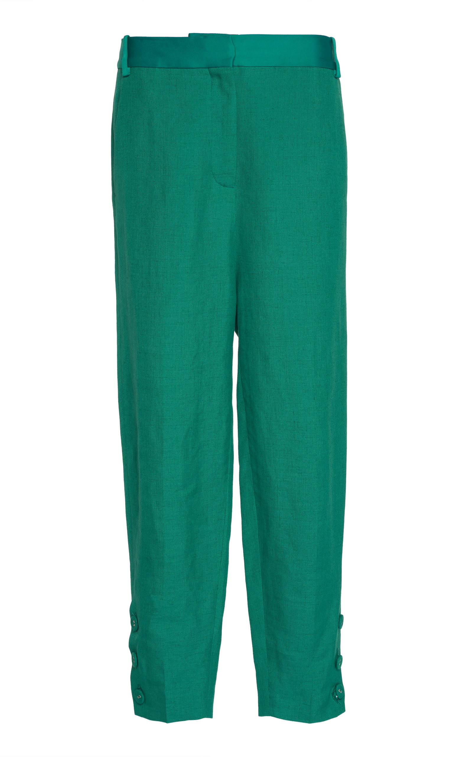 Victoria Victoria Beckham Cropped Slim Pant In Green