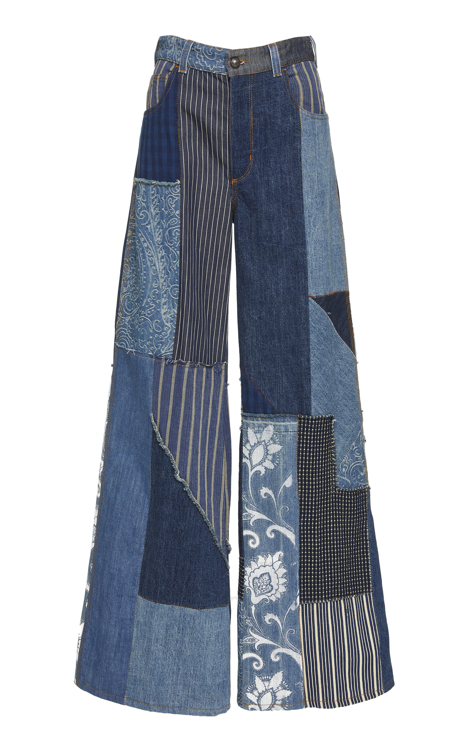 ETRO | Etro Patchwork-Effect High-Rise Wide-Leg Jeans | Goxip