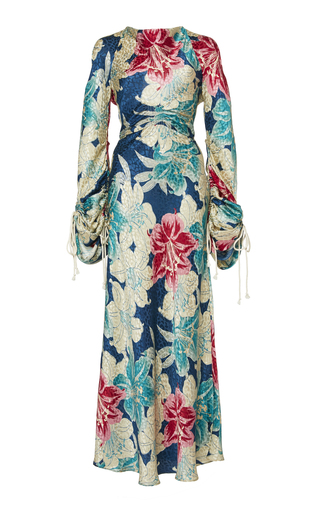 bc96ec417d3be EtroTied Floral-Print Silk Satin-Jacquard Dress