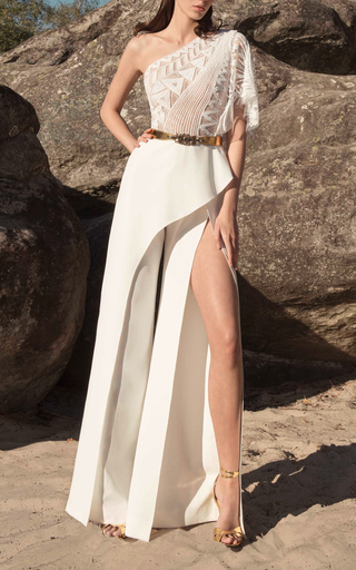 d5d070db6a7c One-Shoulder Embroidered Wide-Leg Cady Jumpsuit by Zuhair Murad ...