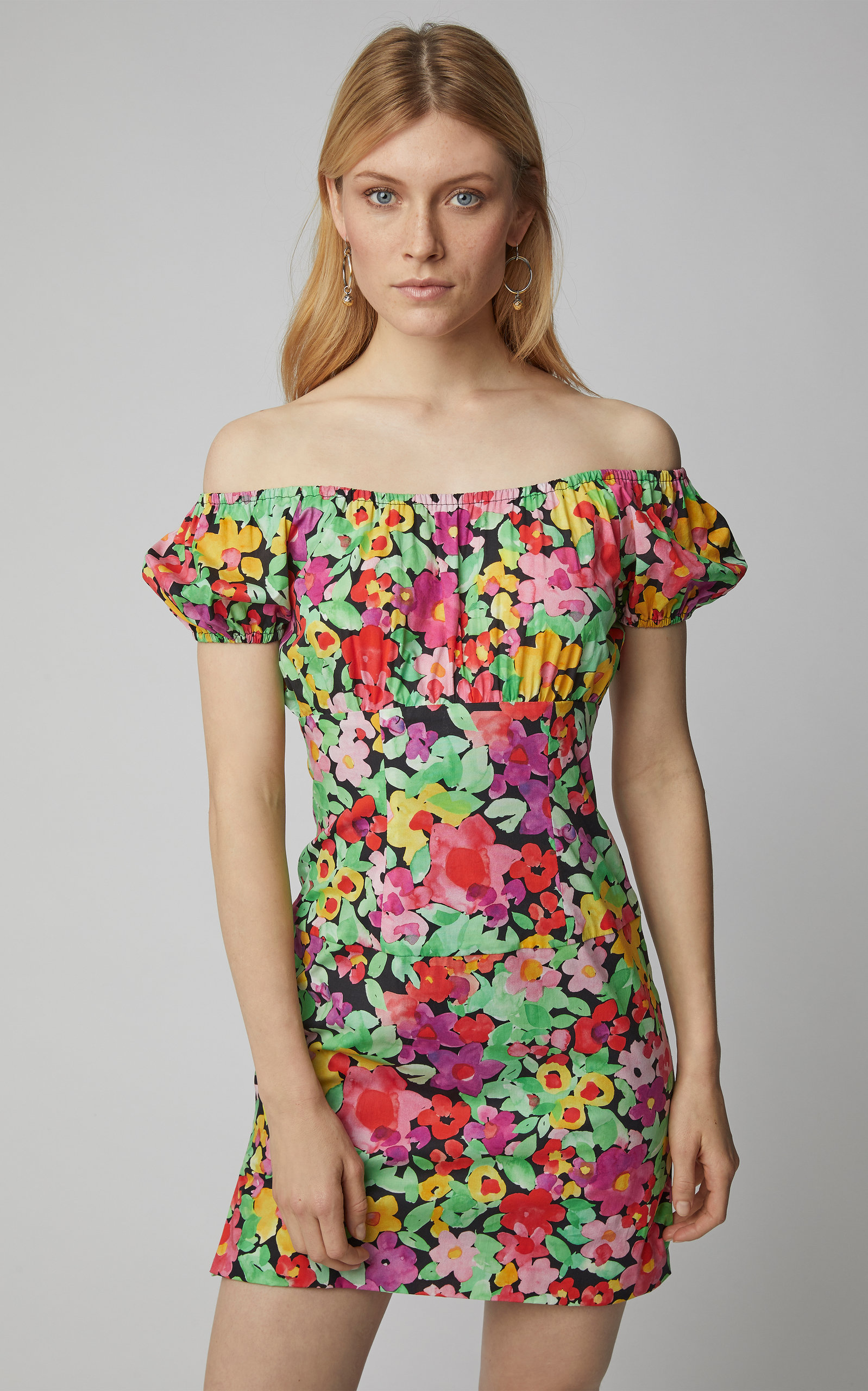 204c7af5ec32 Caroline ConstasCalla Off-The-Shoulder Floral-Print Cotton Mini Dress.  CLOSE. Loading