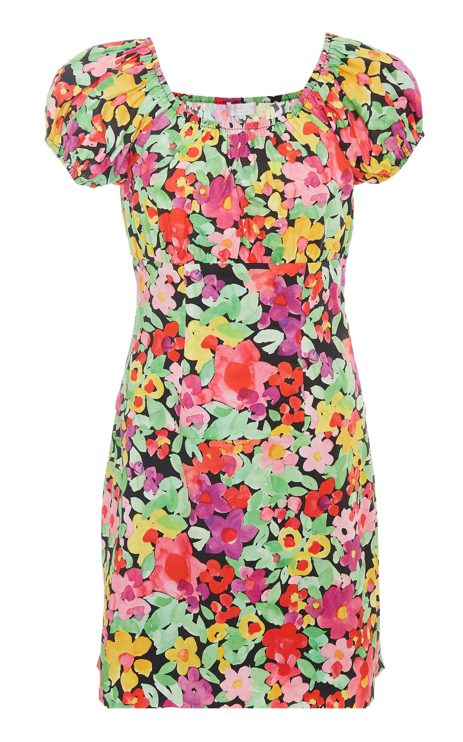 2b871aae Caroline ConstasCalla Off-The-Shoulder Floral-Print Cotton Mini Dress.  CLOSE. Loading