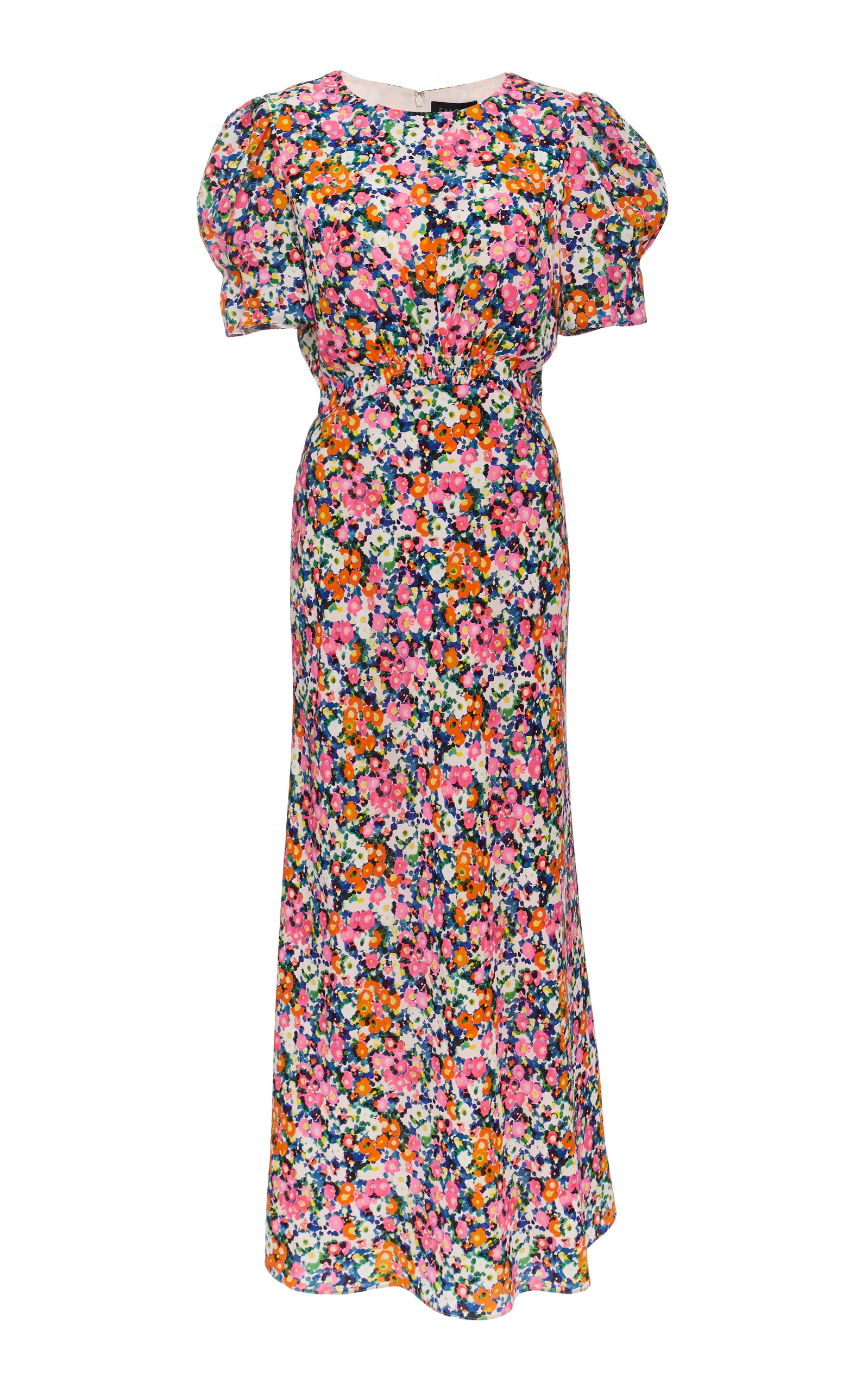 Saloni BIANCA FLORAL-PRINT SILK DRESS