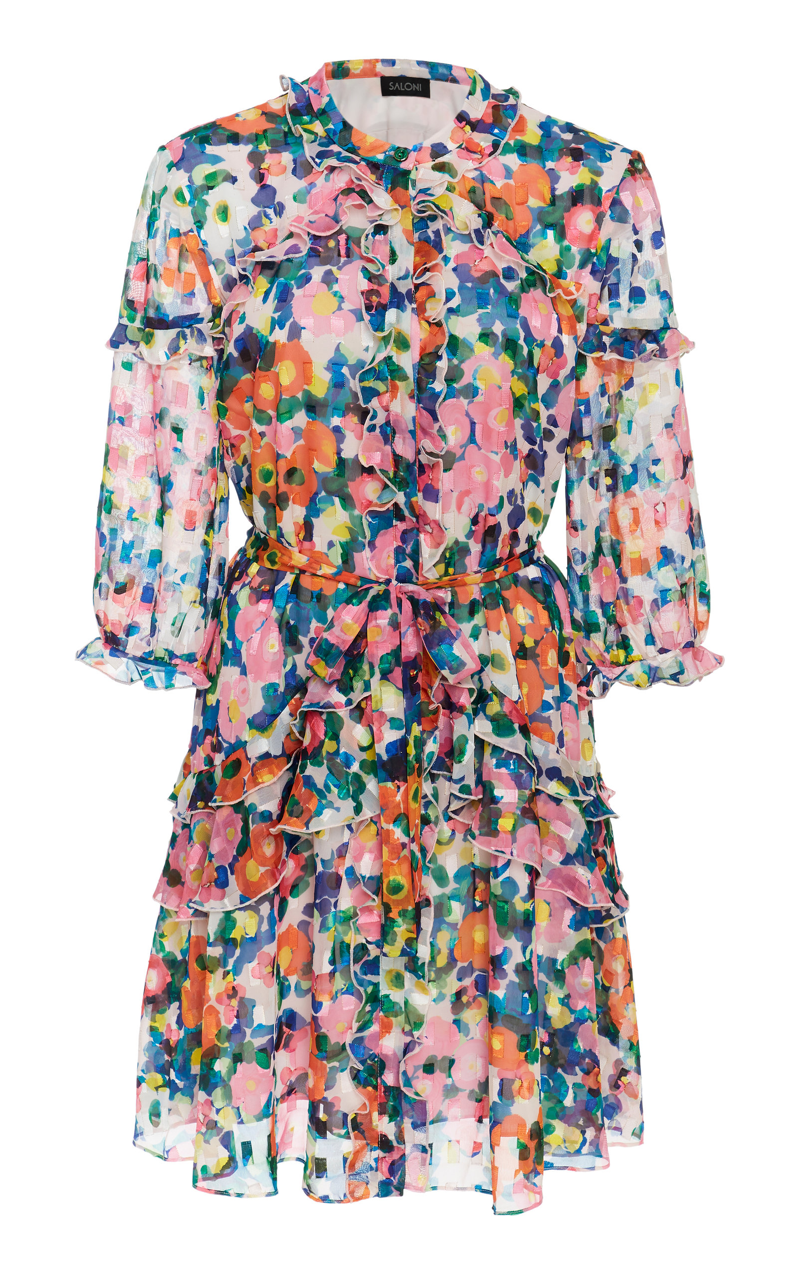 Saloni Tilly Floral-Print Chiffon Mini Dress