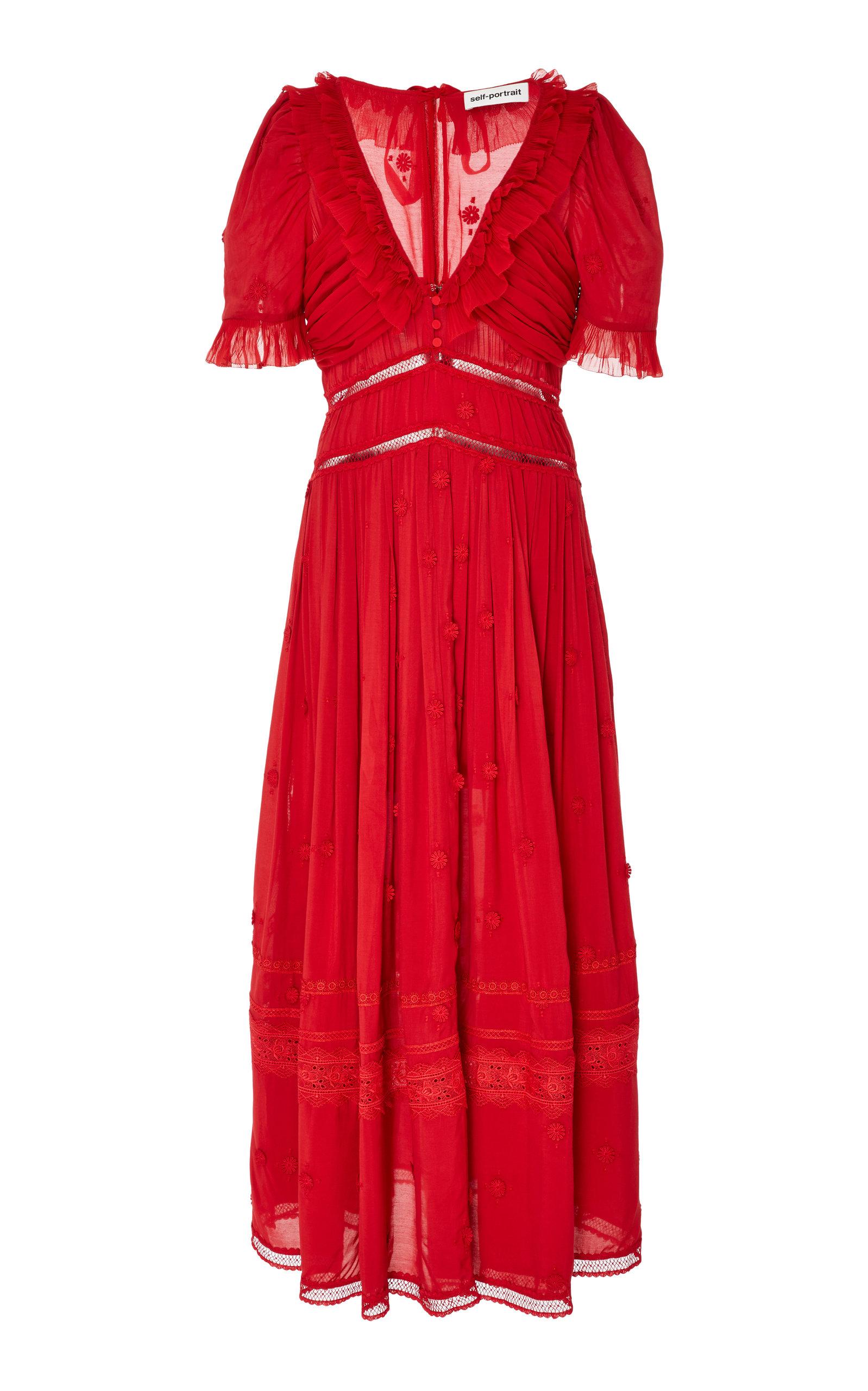 33d1df6ceaa Self PortraitPlumetis Lace-Detailed Chiffon Midi Dress. CLOSE. Loading