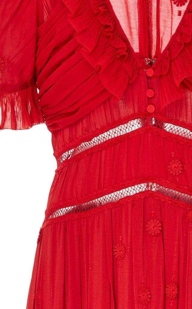 086765126be Self PortraitPlumetis Lace-Detailed Chiffon Midi Dress. CLOSE. Loading.  Loading. Loading