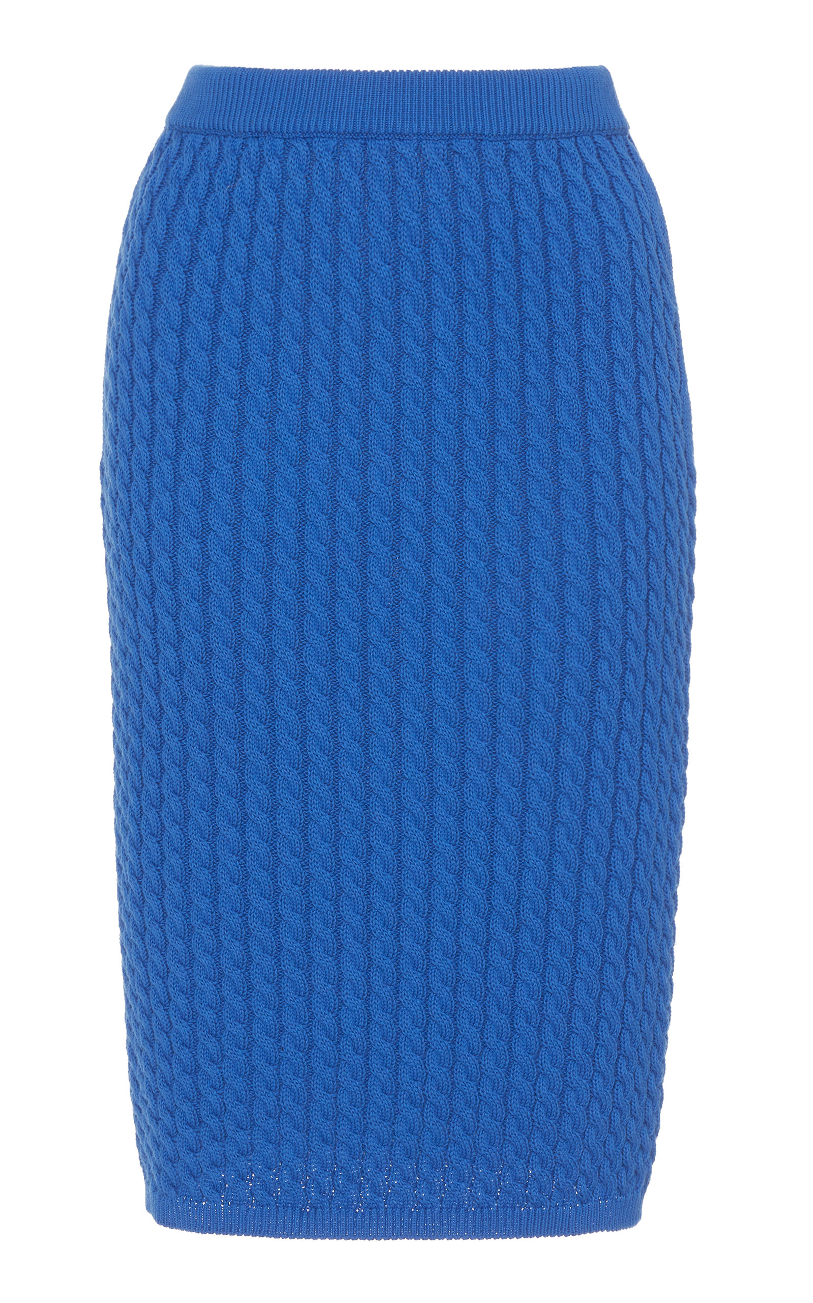 Alessandra Rich FITTED COTTON RIBBED-KNIT SKIRT