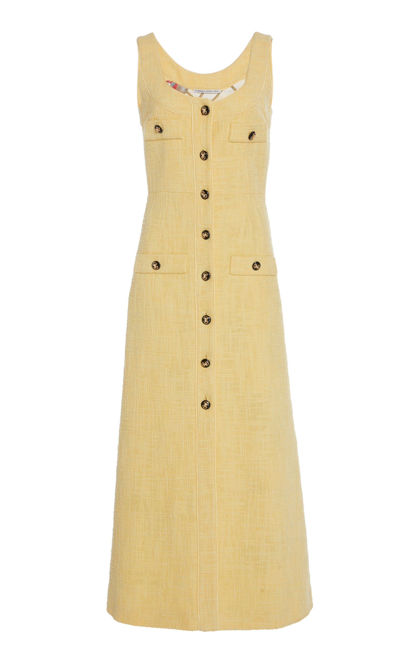 Alessandra Rich Button-Embellished Cotton Blend-Tweed Midi Dress In Yellow
