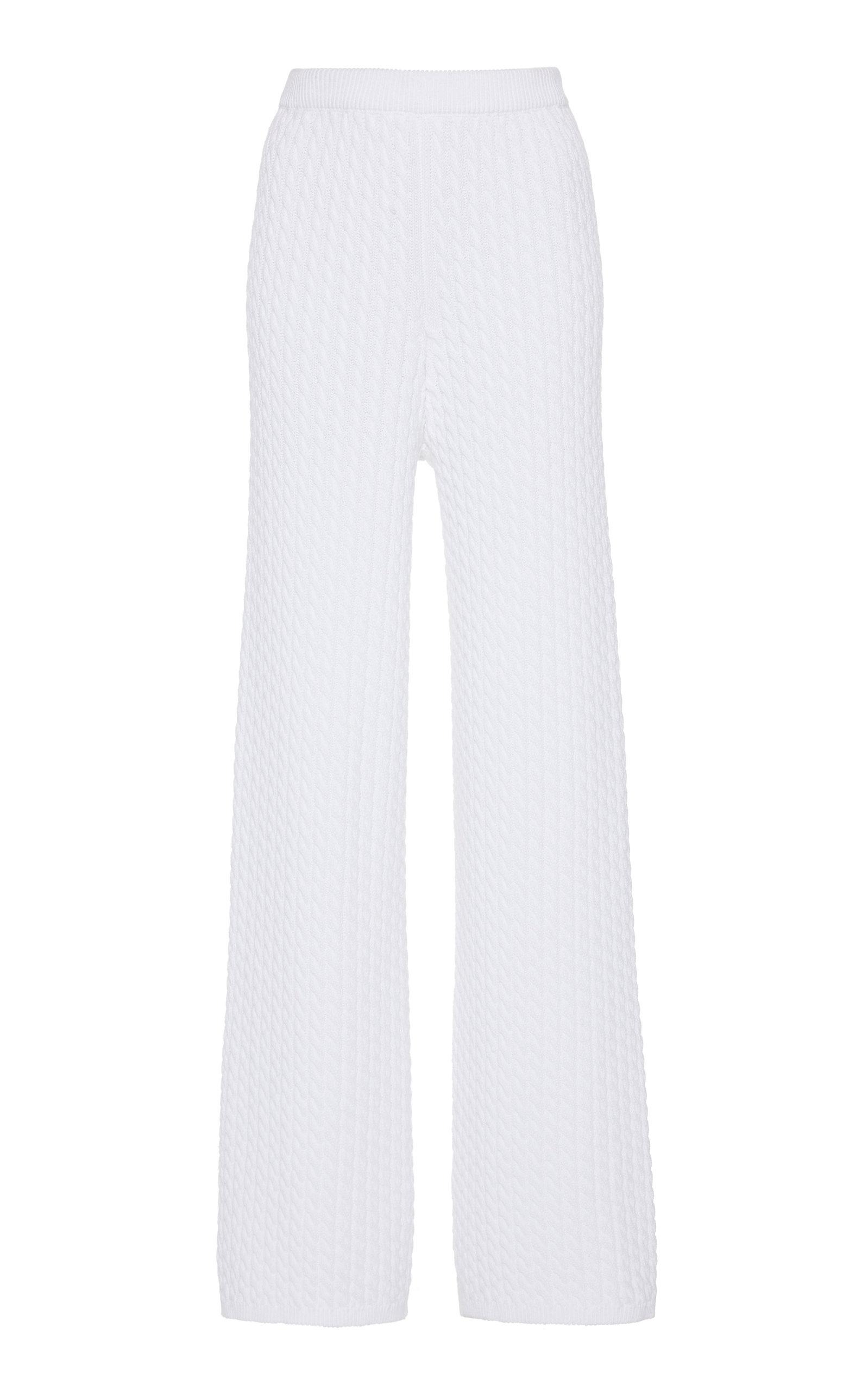 Alessandra Rich WIDE-LEG COTTON POINTELLE-KNIT PANTS