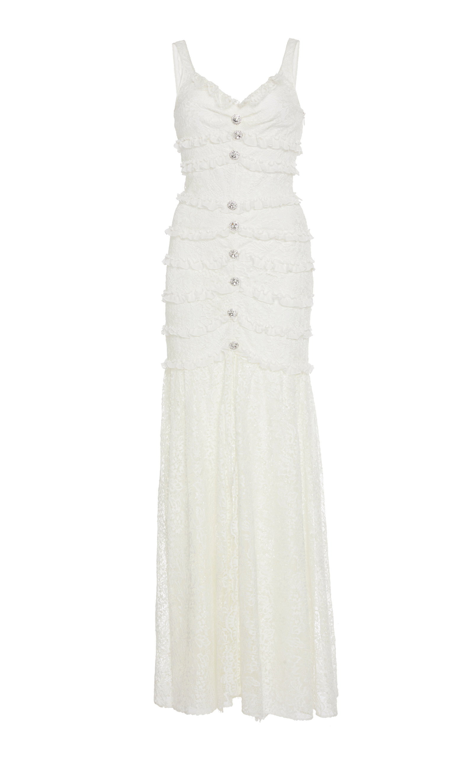 Alessandra Rich BUTTON-DETAIL LACE DRESS