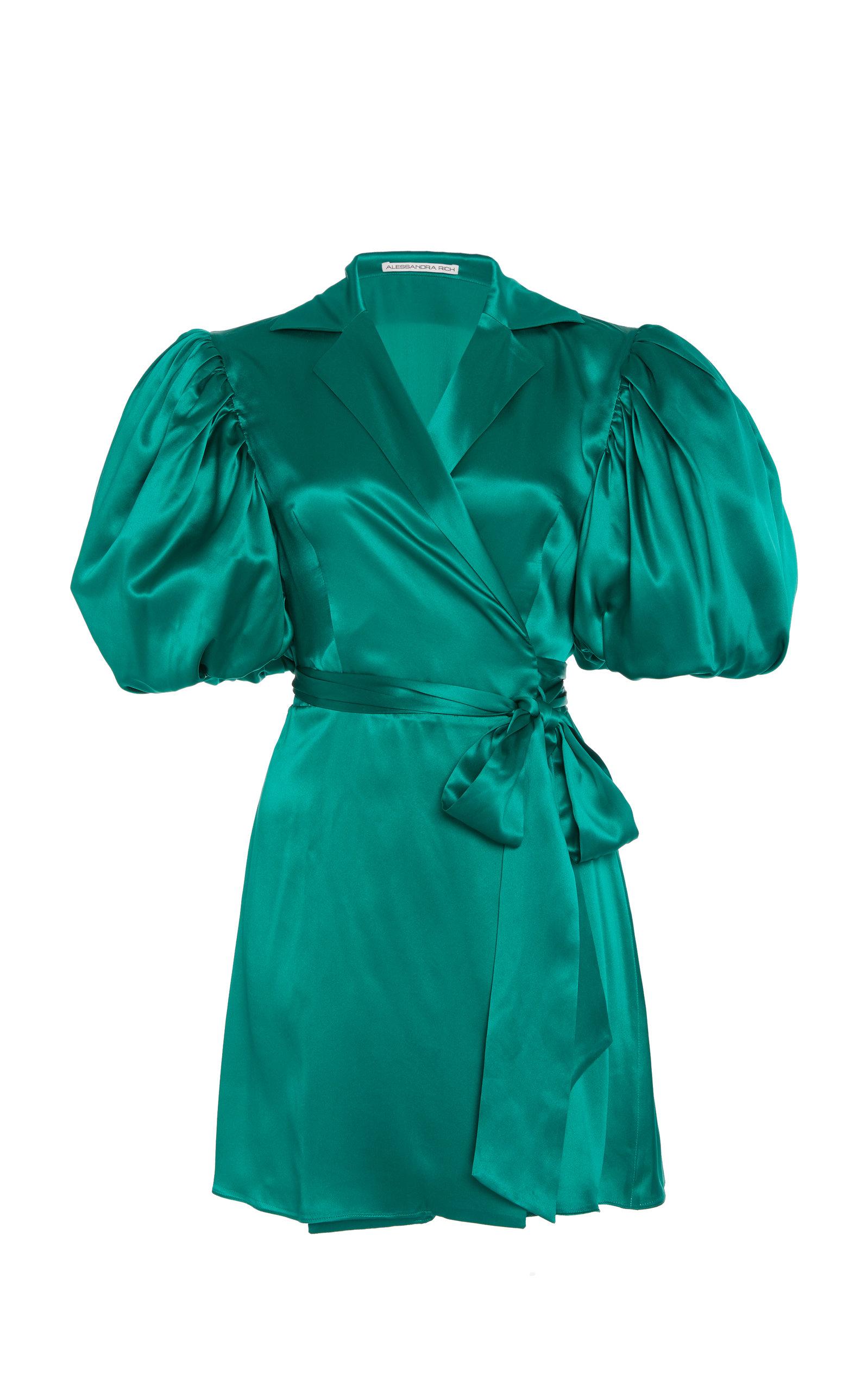 Alessandra Rich BALLOON SLEEVE SILK DRESS