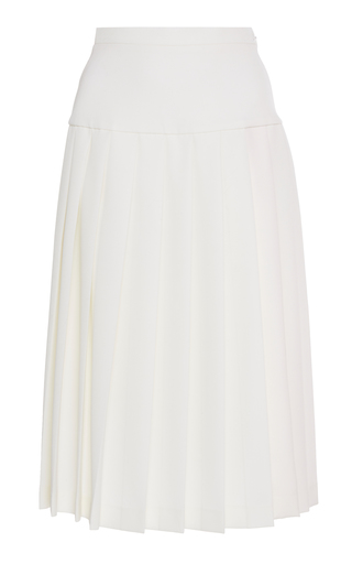 ALESSANDRA RICH | Alessandra Rich High-Waisted Pleated Wool-Crepe Skirt | Goxip