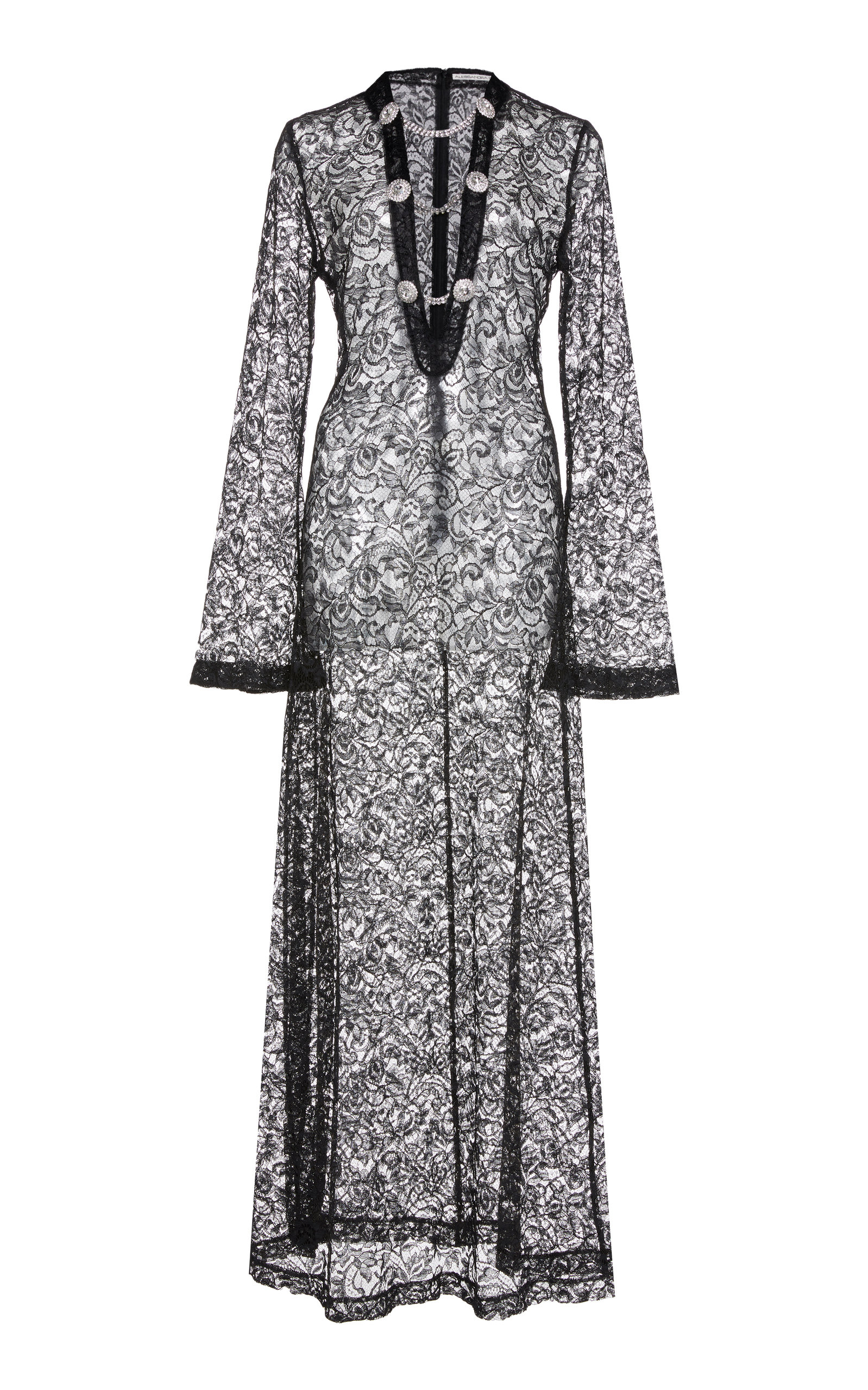Alessandra Rich CHAIN-DETAIL LACE DRESS